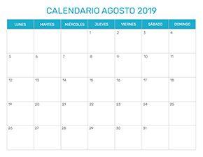 Calendario De Agosto 2019 Decorado.Calendario Mensual Para Imprimir Ano 2019
