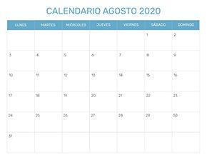 Agosto 2020 Calendario.Calendario Mensual Para Imprimir Ano 2020