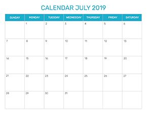 Preview of the format for the month of July 2019