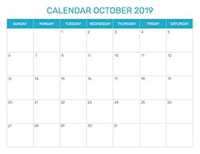 Preview of the format for the month of October 2019