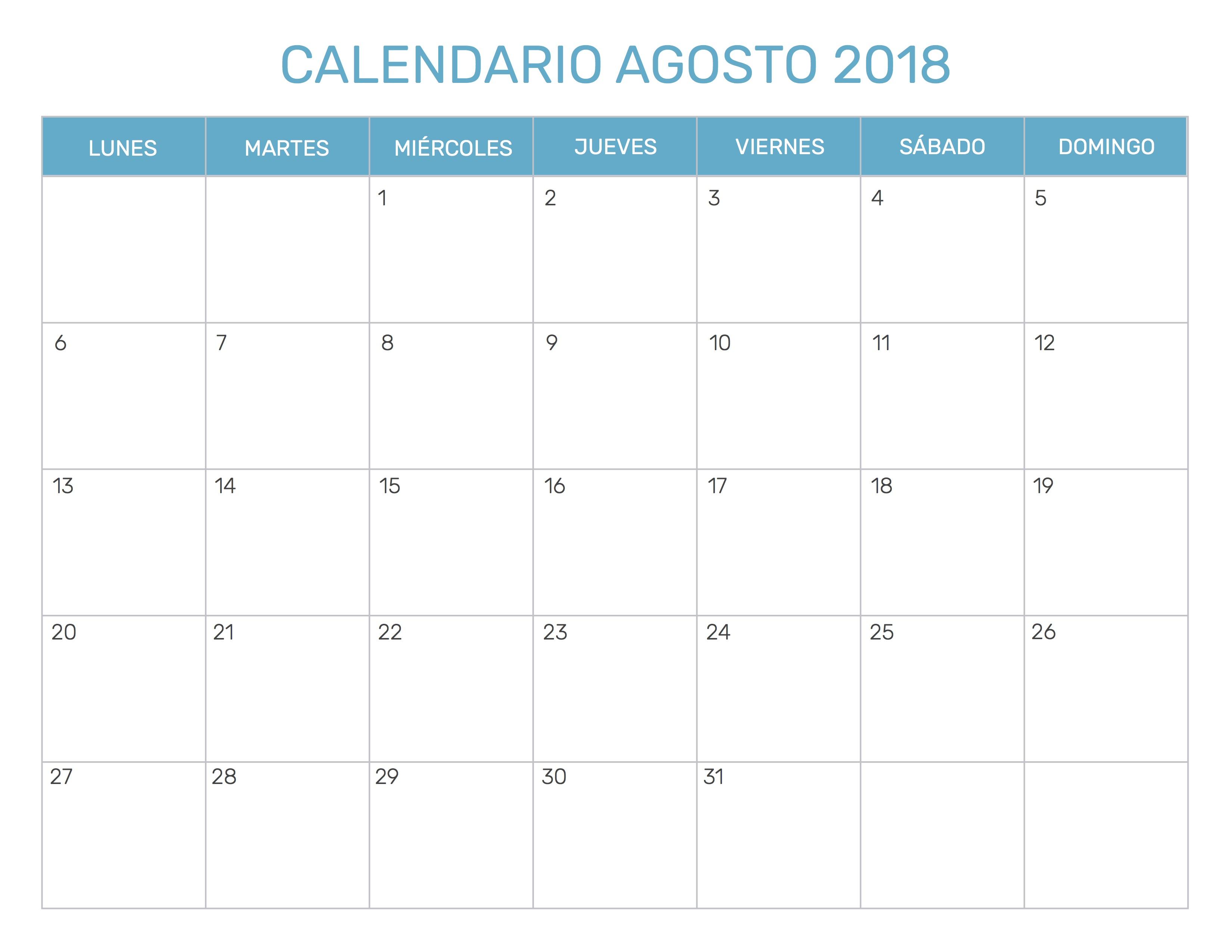 Calendario mensual para imprimir a o 2018 for En agosto cumplo anos
