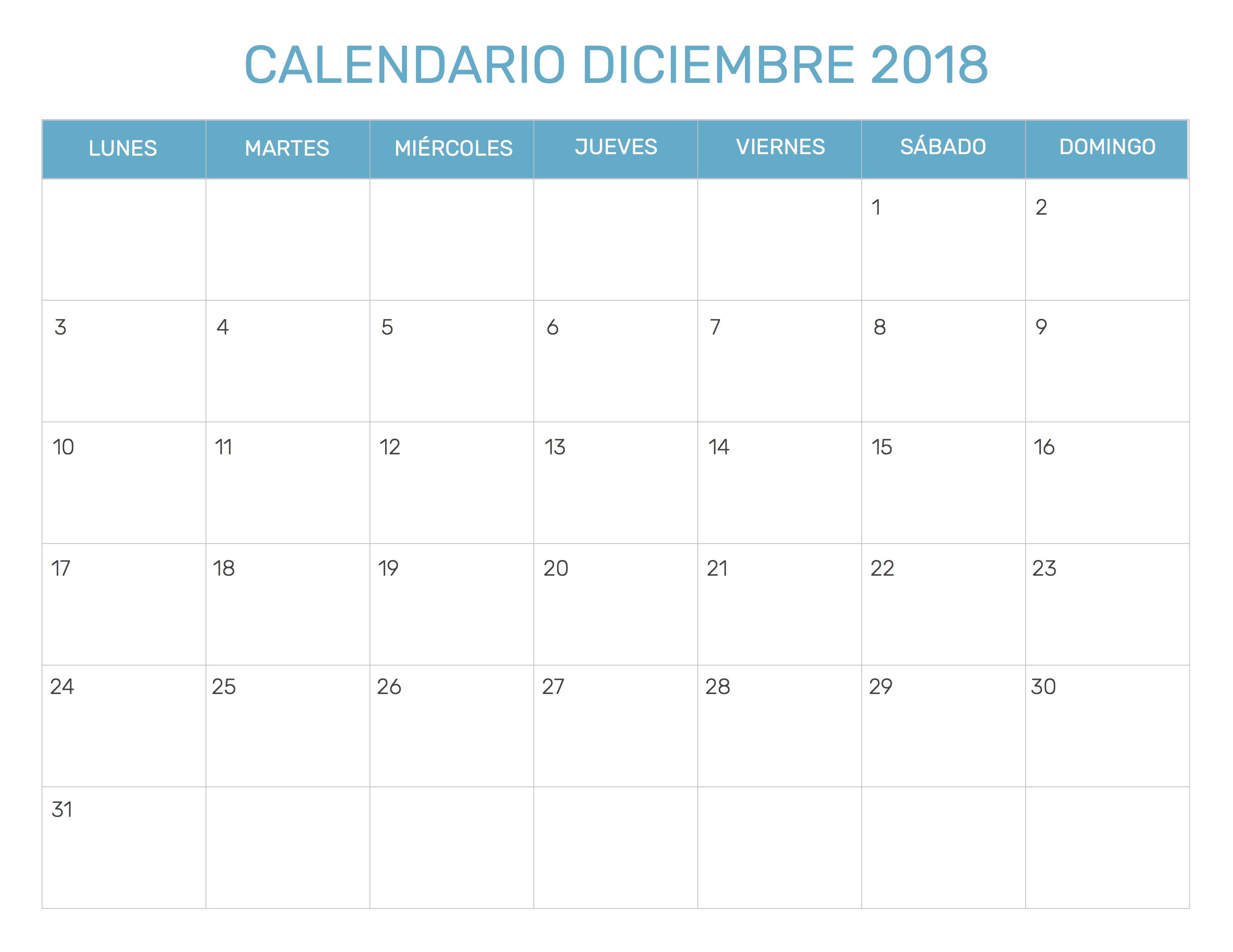 Calendario Diciembre 2018 Para Imprimir.Calendario Mensual Para Imprimir Ano 2018