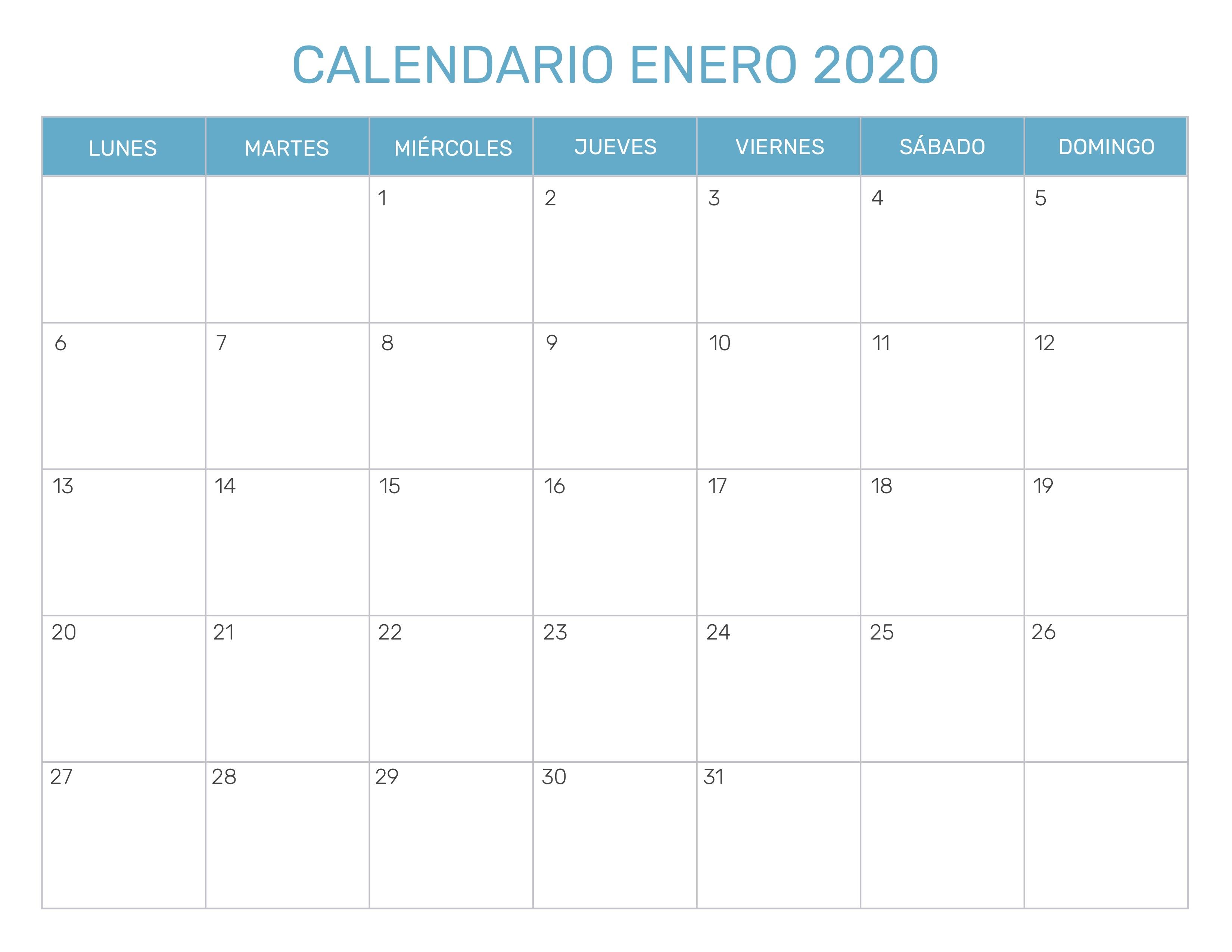 Calendario 2020 Pdf Gratis.Calendario Mensual Para Imprimir Ano 2020