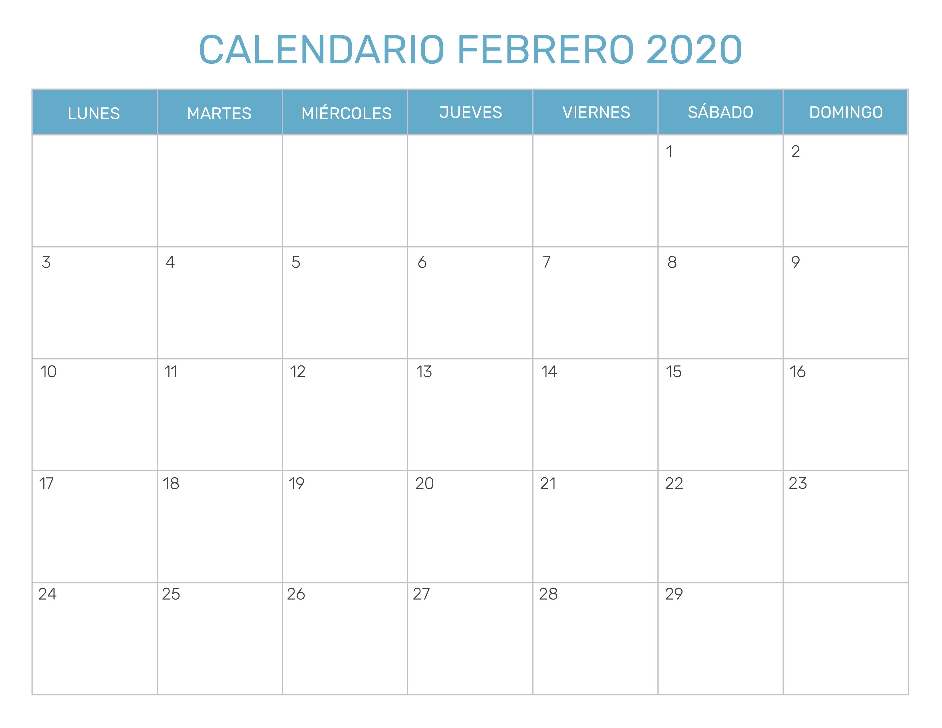Calendario Lunar Febrero 2020.Calendario Mensual Para Imprimir Ano 2020