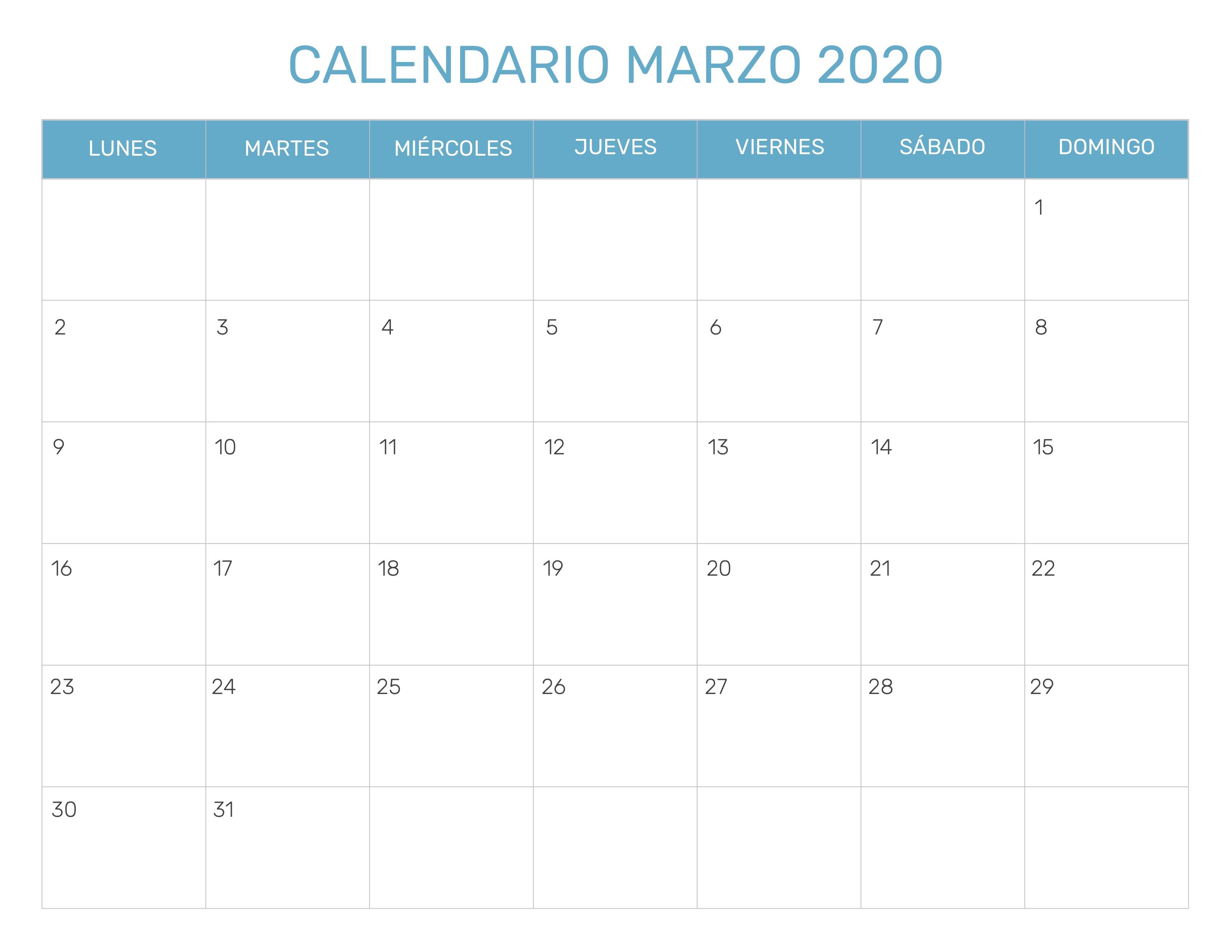 Calendario Marzo 2020.Index Of Print Calendario Mensual 1 2020