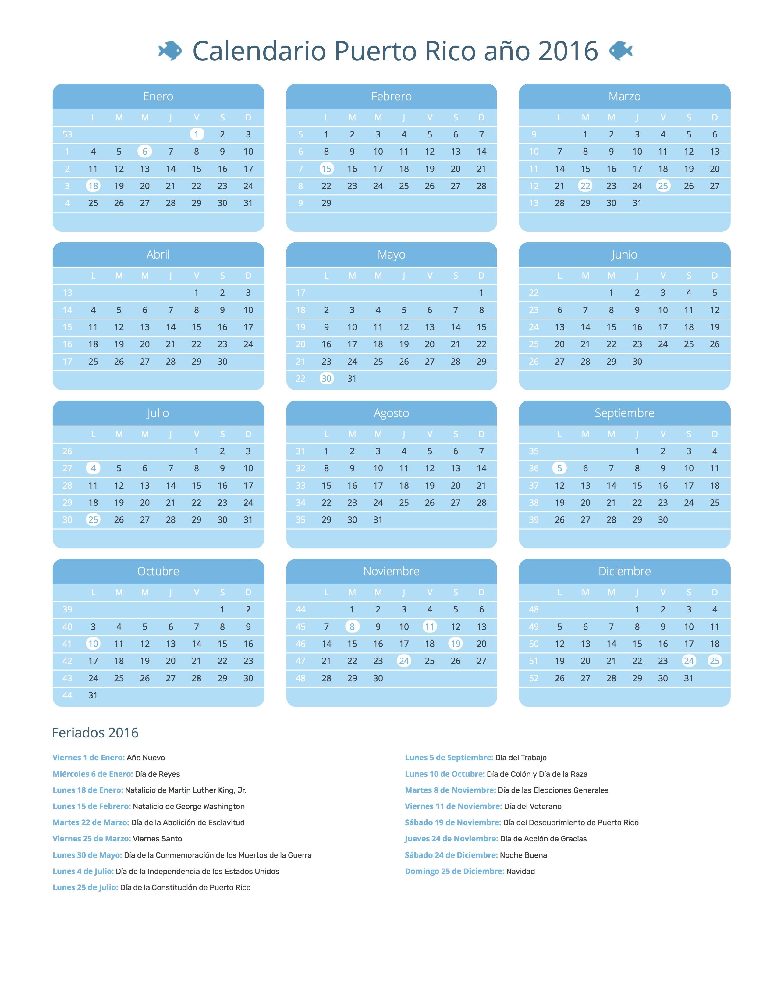 Calendario Del Ano 1965.Calendario Puerto Rico Ano 2016 Feriados