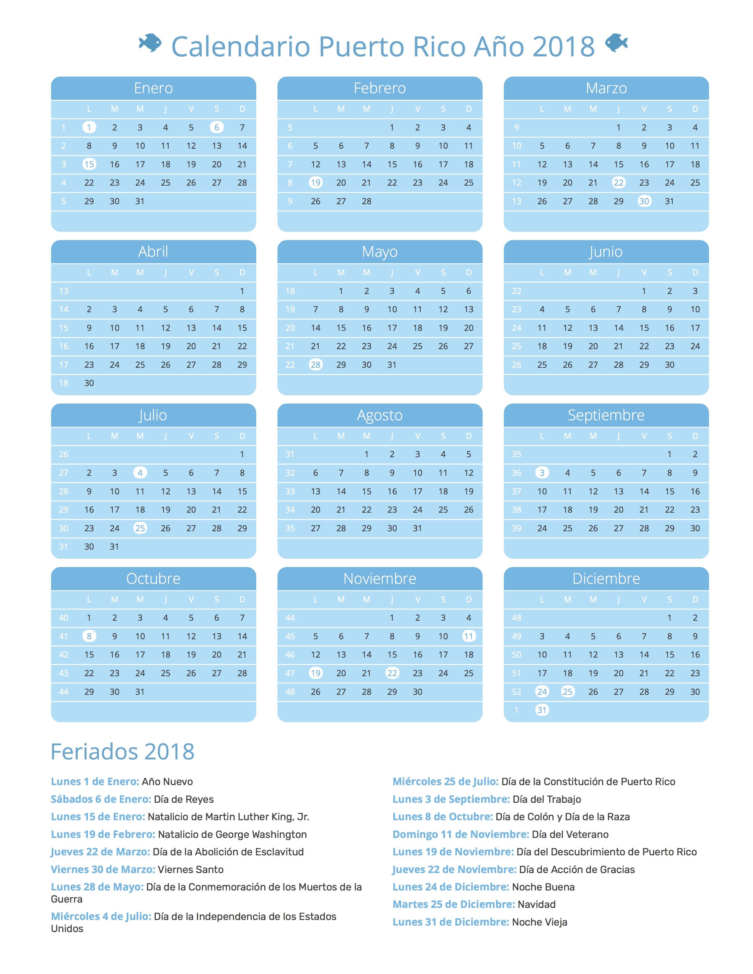 Calendario De Puerto Rico Año 2018 Feriados Días Festivos