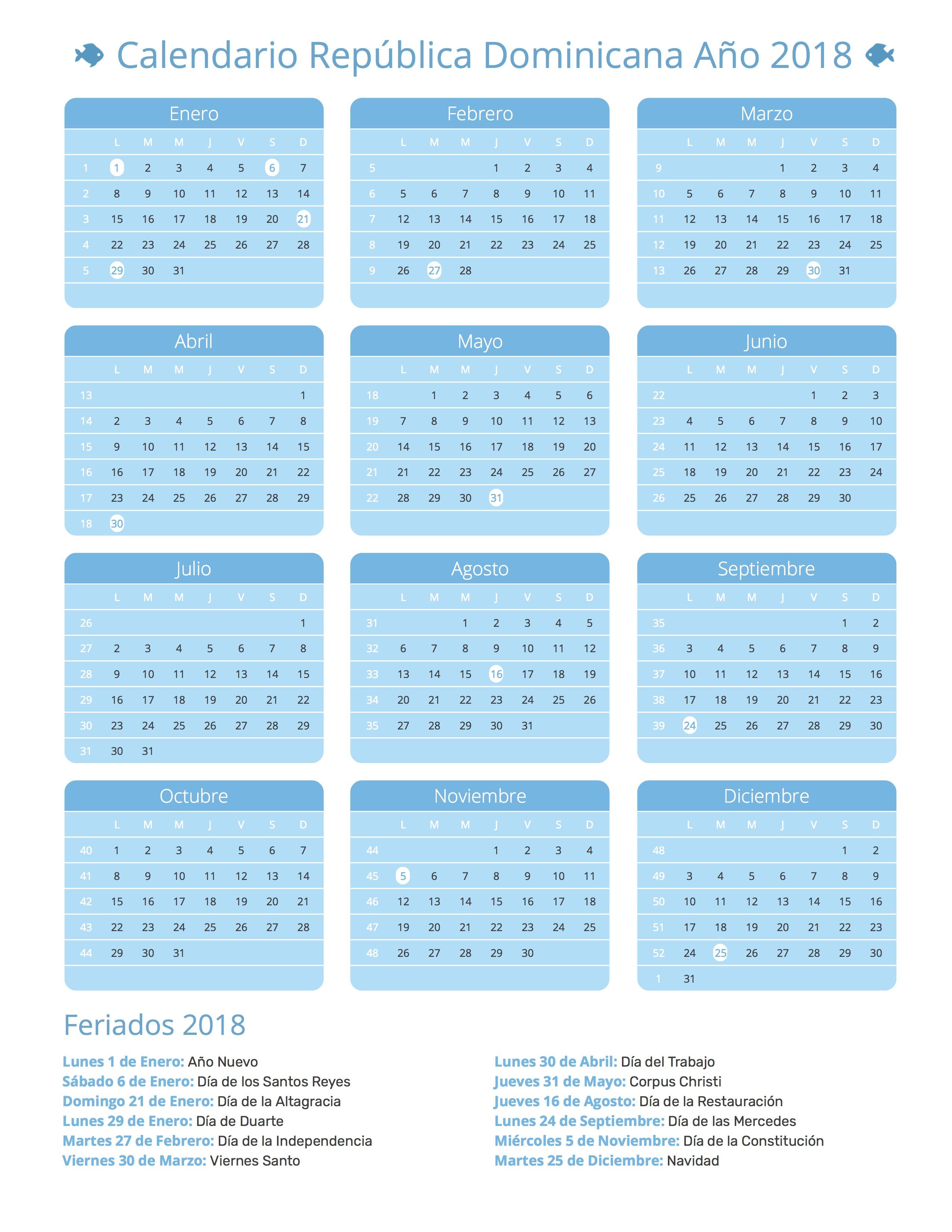 Calendario de República Dominicana Año 2018 | Feriados