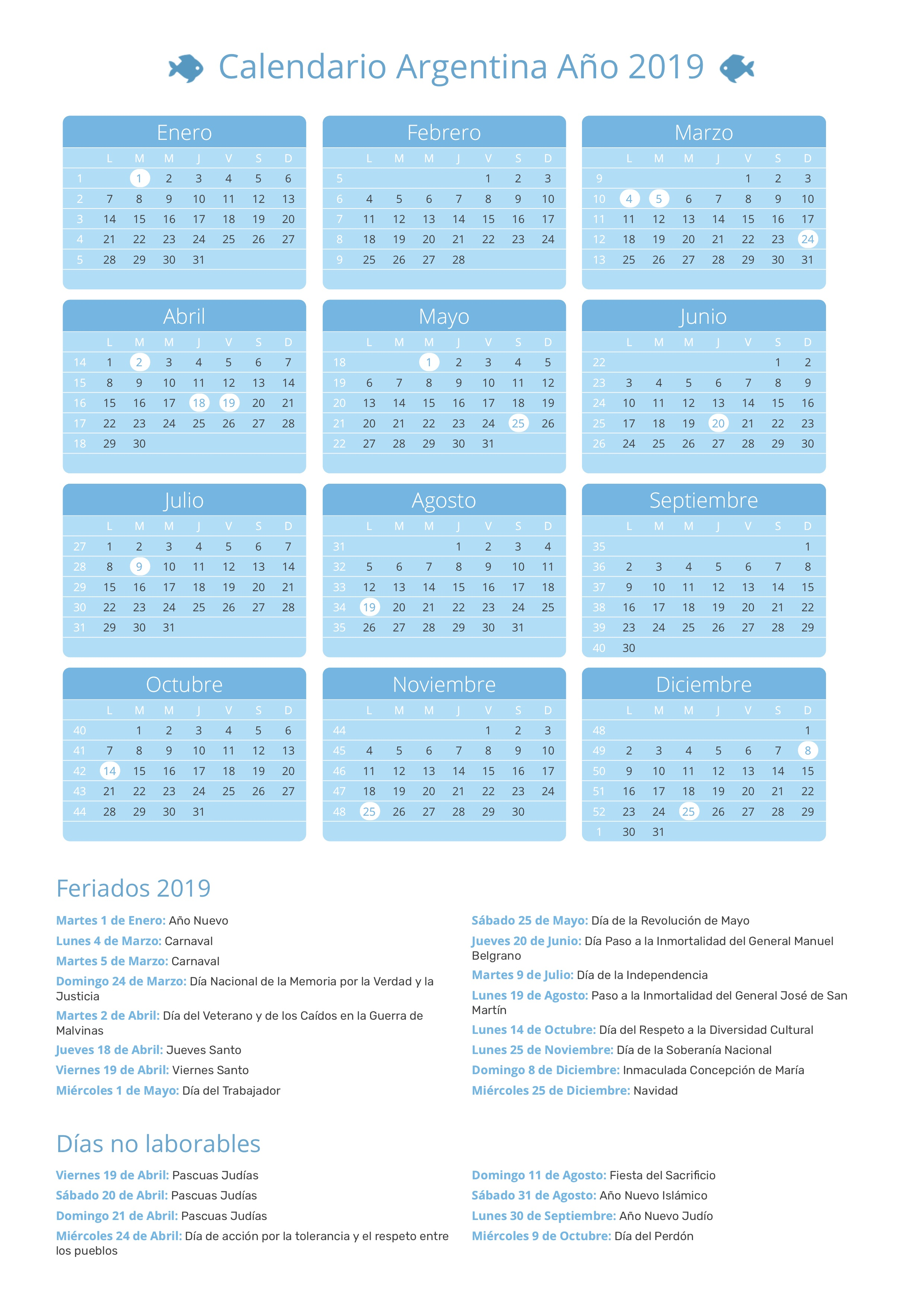 Marzo 2020 Calendario Argentina.Calendario De Argentina Ano 2019 Feriados