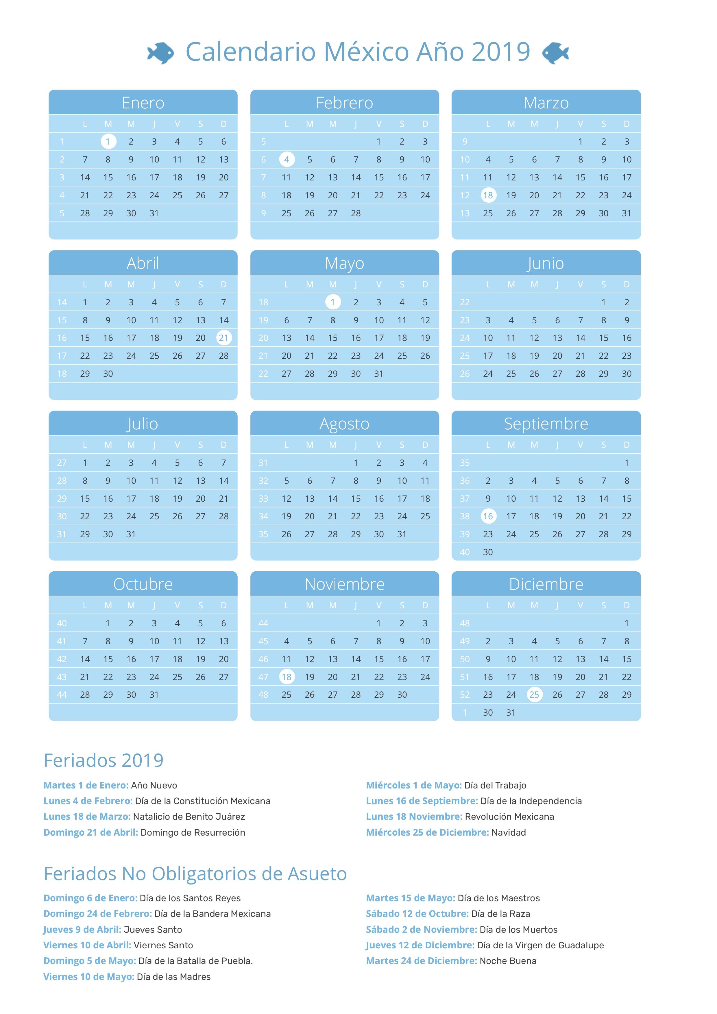 Calendario 2020 Mexico Con Dias Festivos Para Imprimir.Calendario De Mexico Ano 2019 Feriados