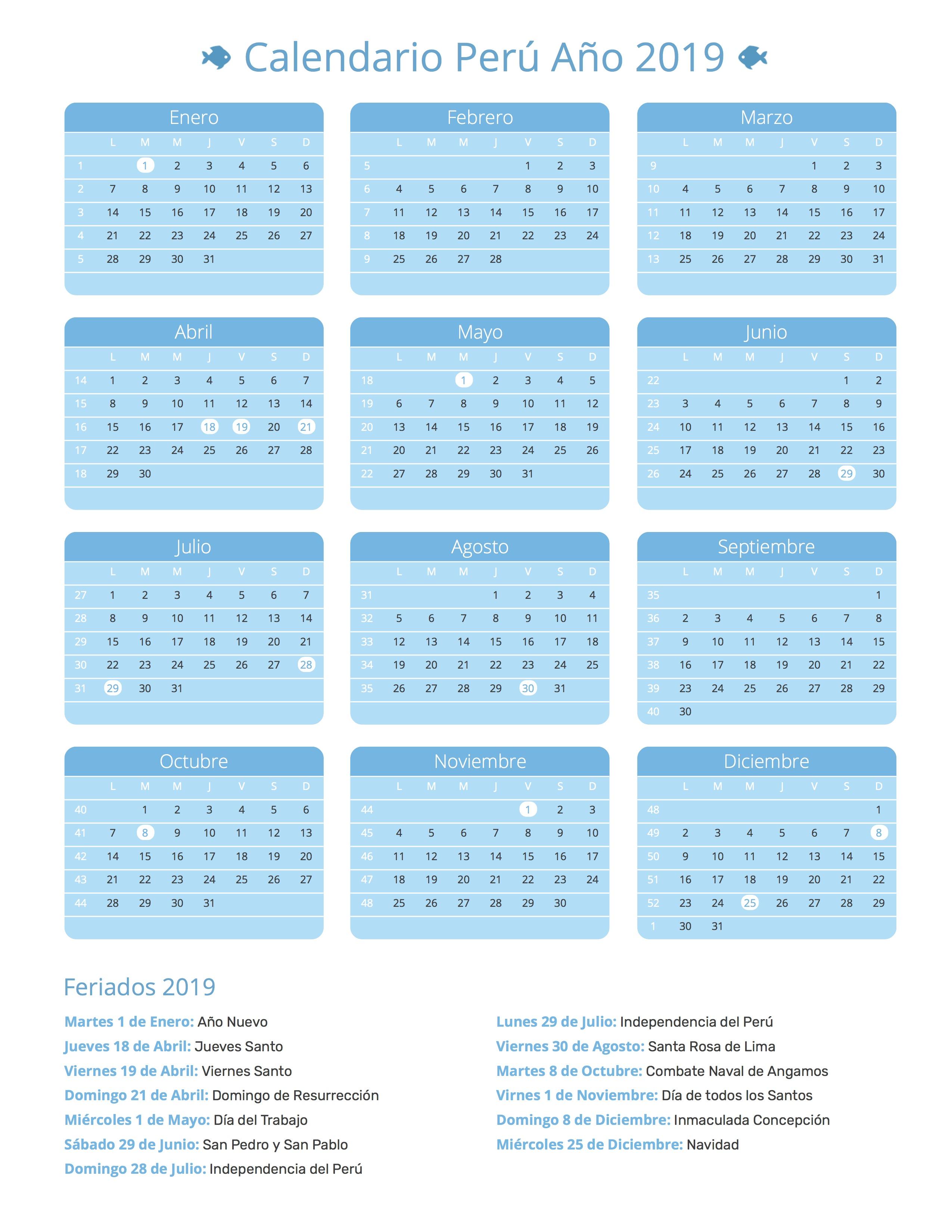 Calendario Marzo 2020 Peru.Calendario De Peru Ano 2019 Feriados