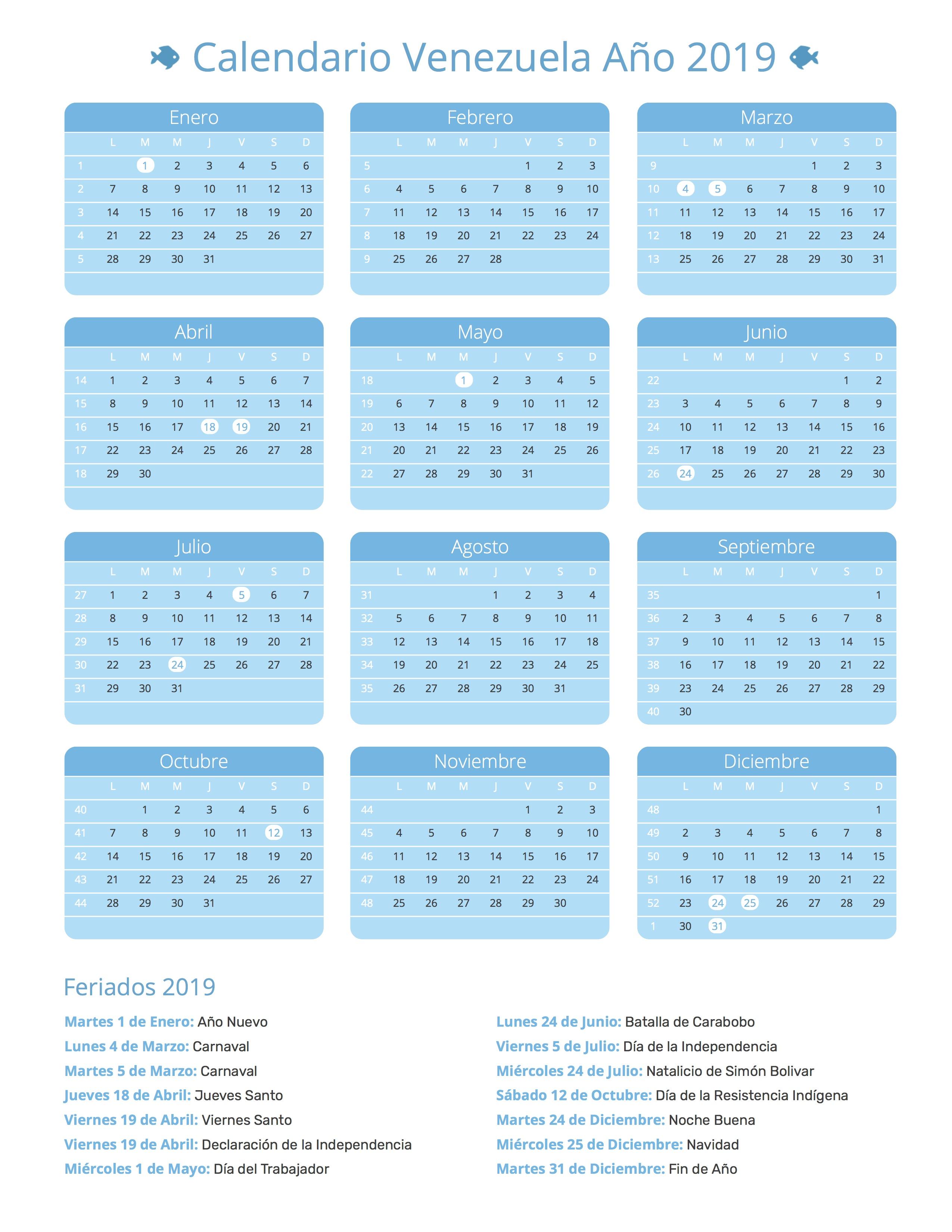 Calendario Venezuela Año 2019 | Feriados
