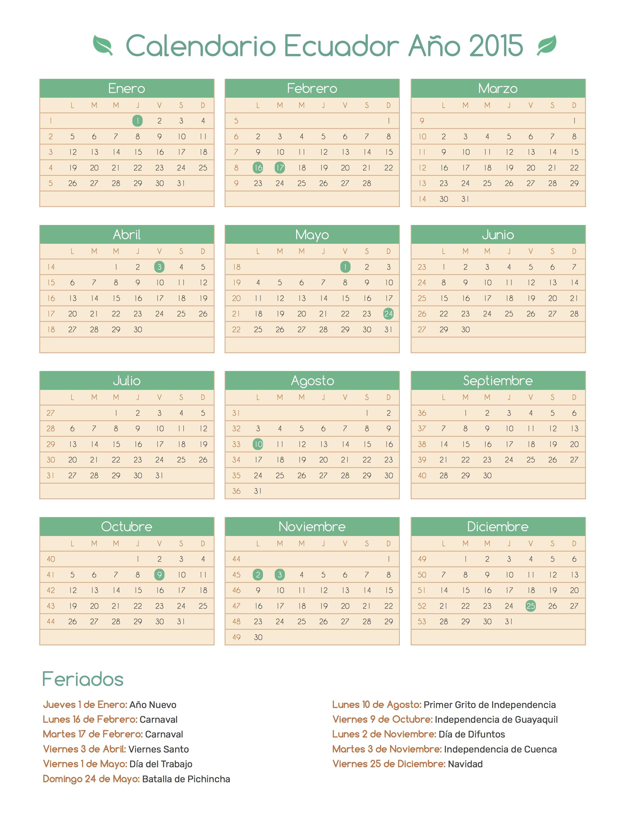 calendario ecuador a u00f1o 2015