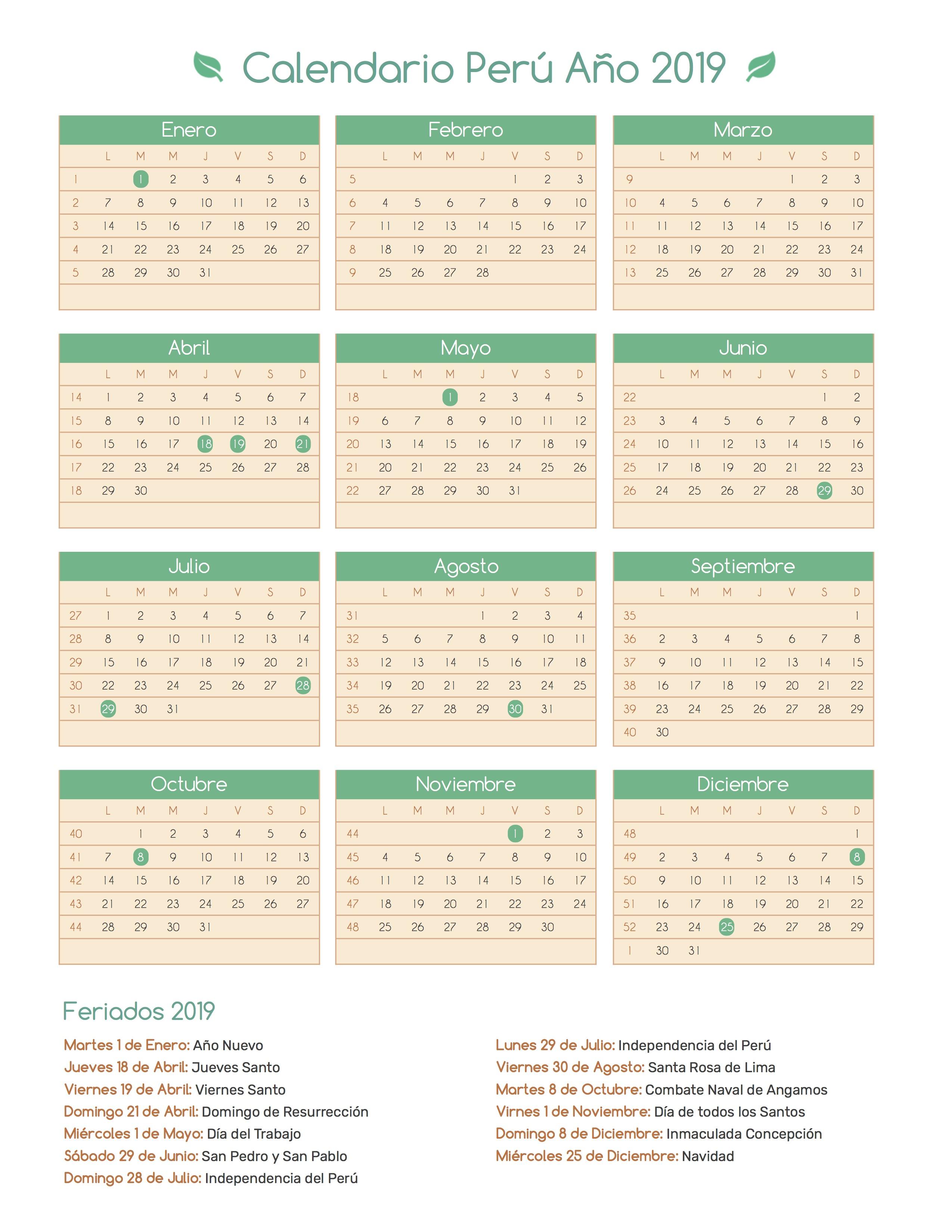 Calendario De Octubre 2019 Peru.Calendario De Peru Ano 2019 Feriados