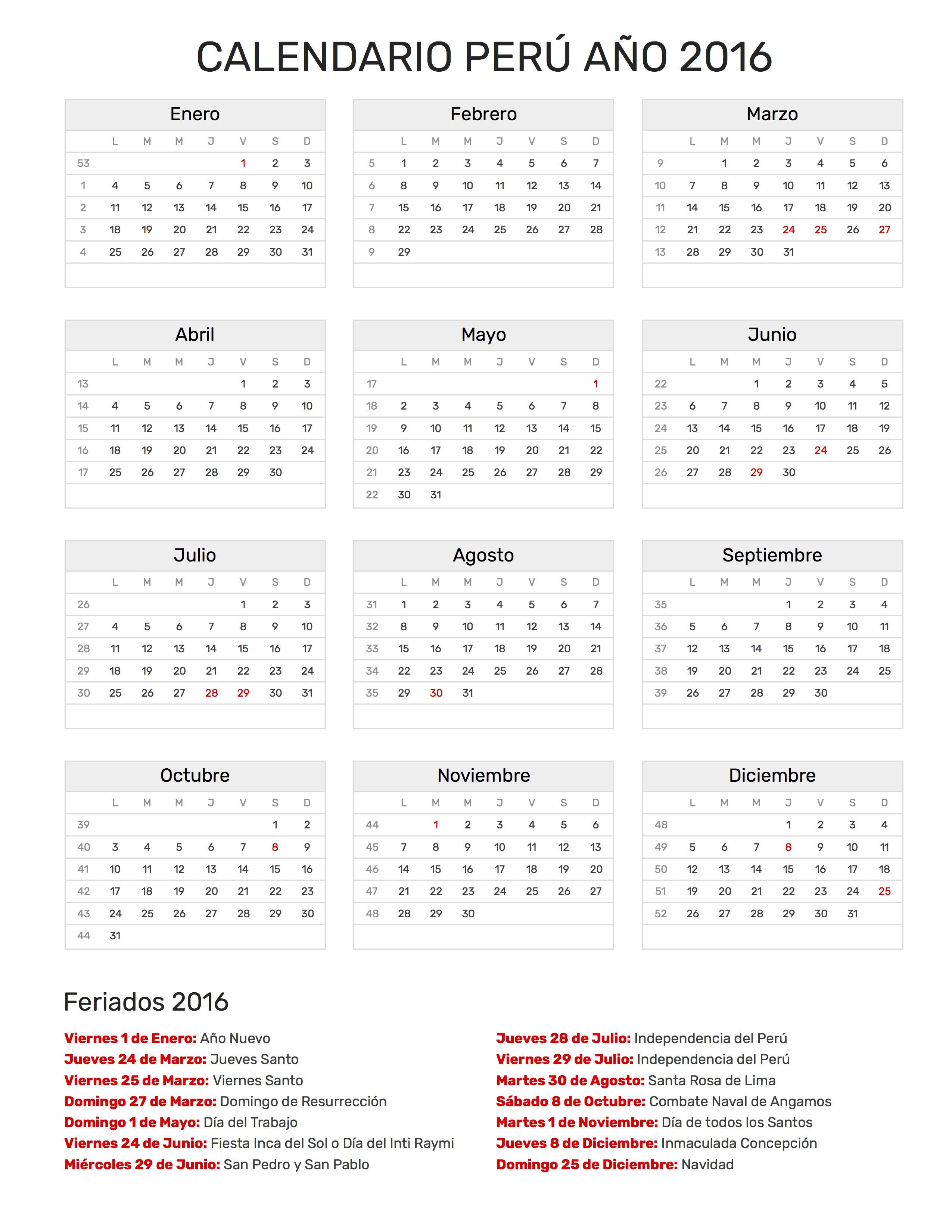 calendario per a o 2016 feriados