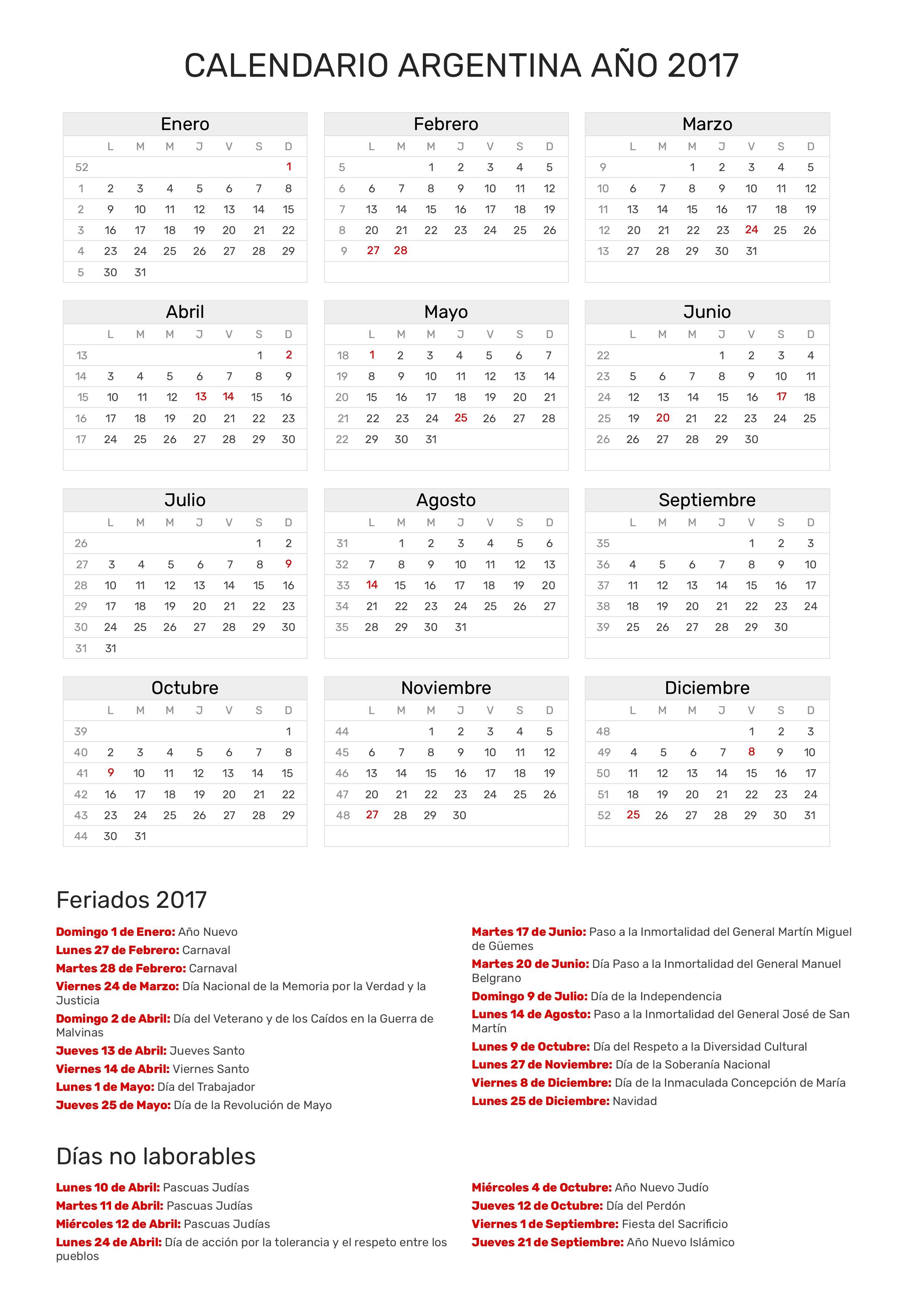 Calendario 2017 Argentina.Index Of Print Calendario Clasico 2017