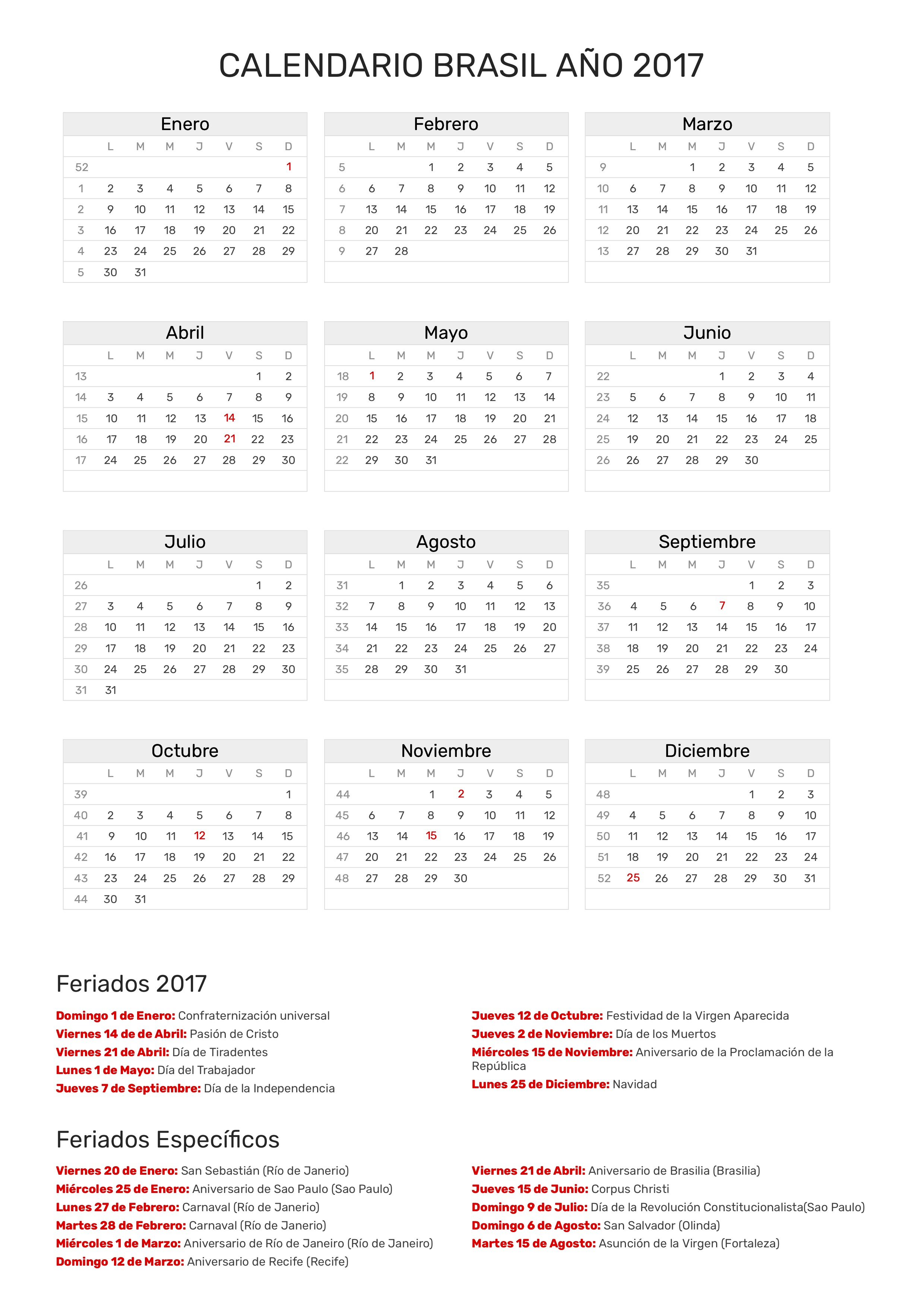 Calendario 2017 Brasil.Index Of Print Calendario Clasico 2017
