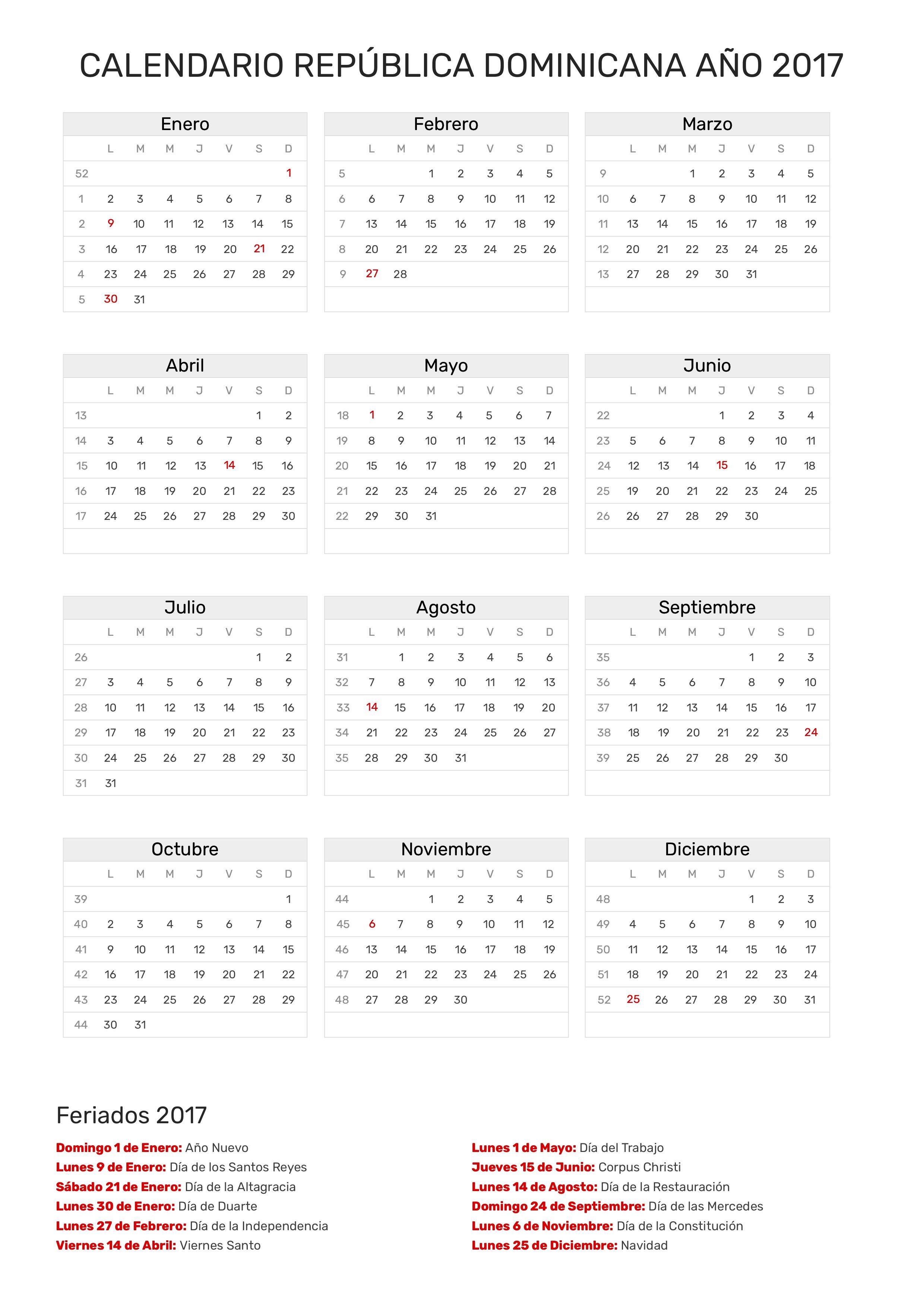 Calendario República Dominicana Año 2017 | Feriados