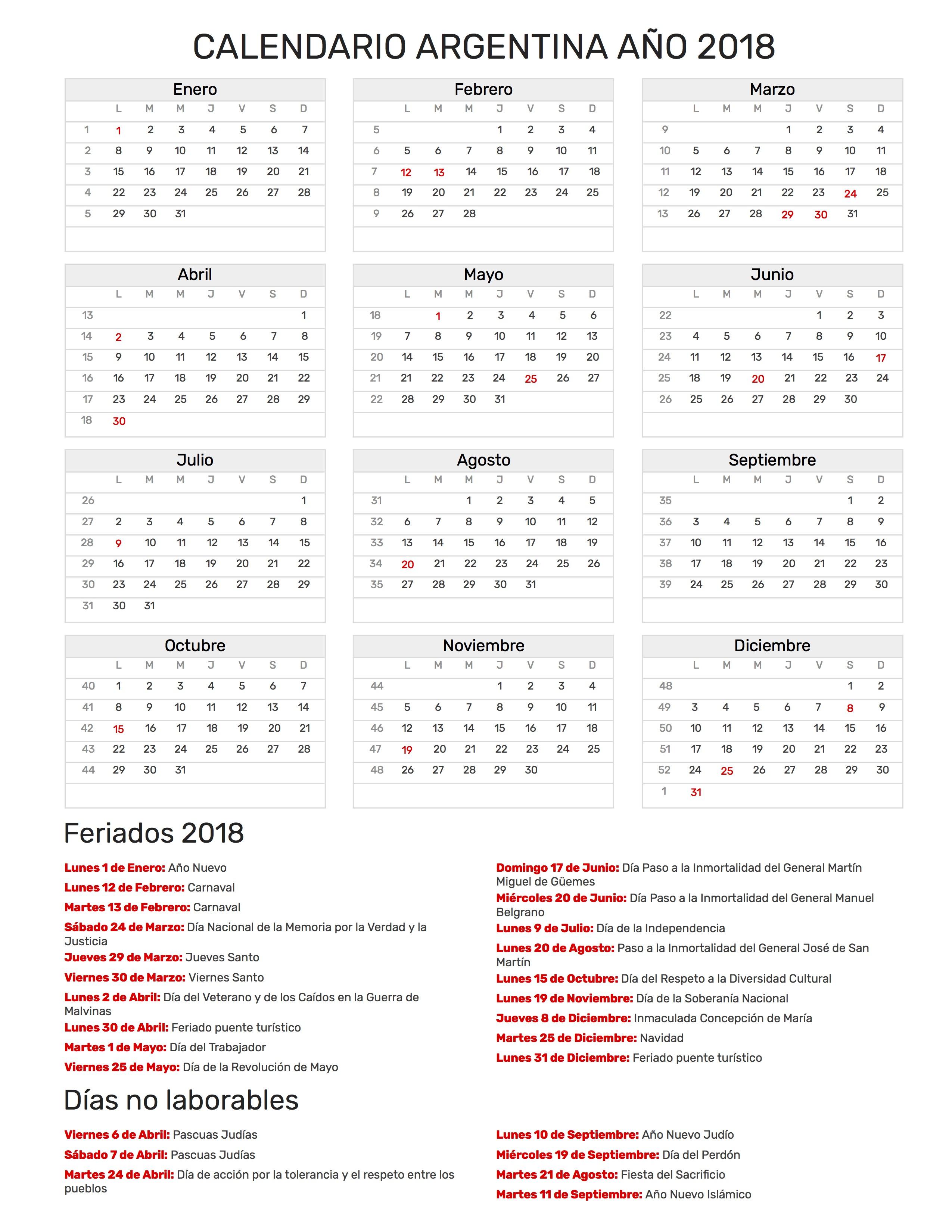 Calendario Marzo 2020 Argentina Para Imprimir.Calendario De Argentina Ano 2018 Feriados