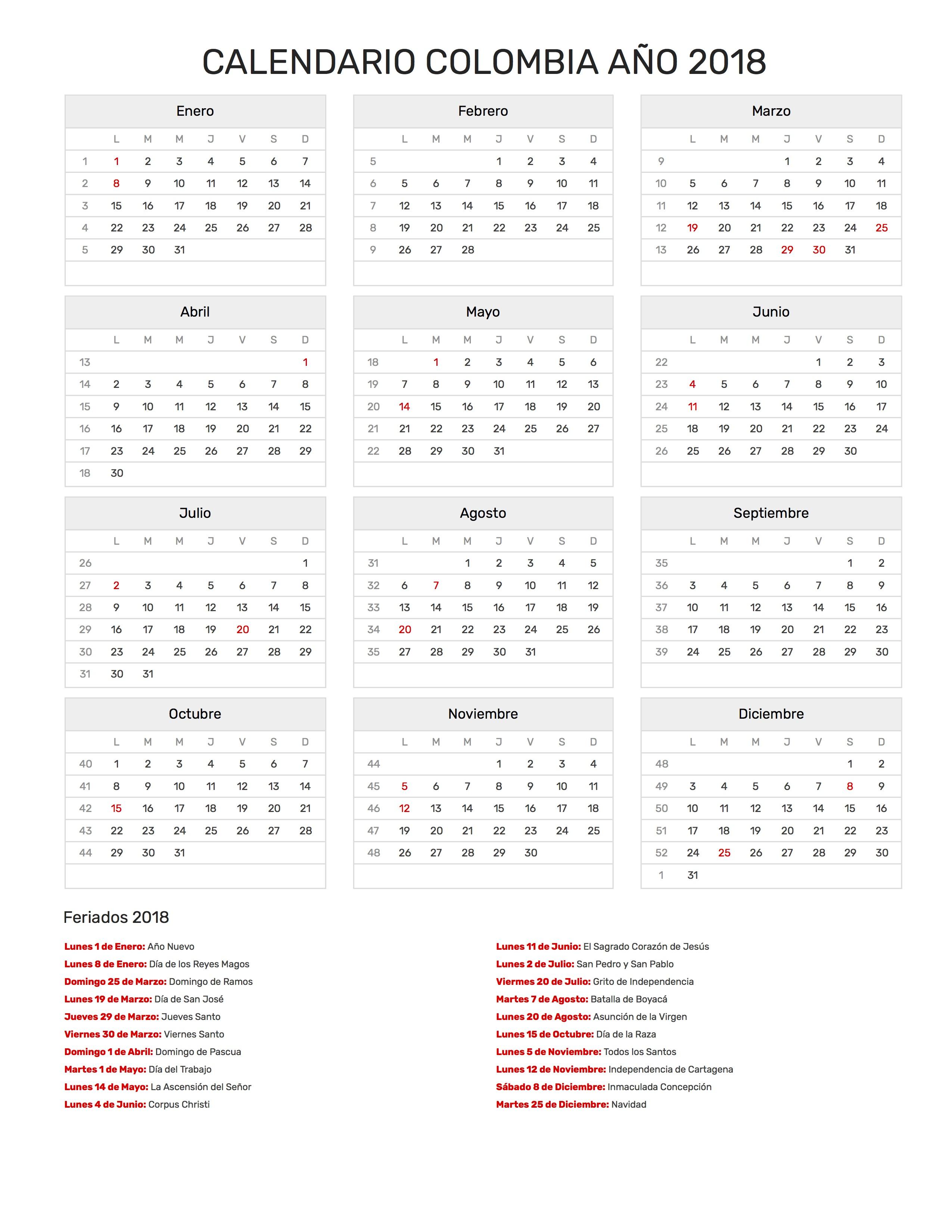 Calendario Colombiano.Calendario De Colombia Ano 2018 Feriados
