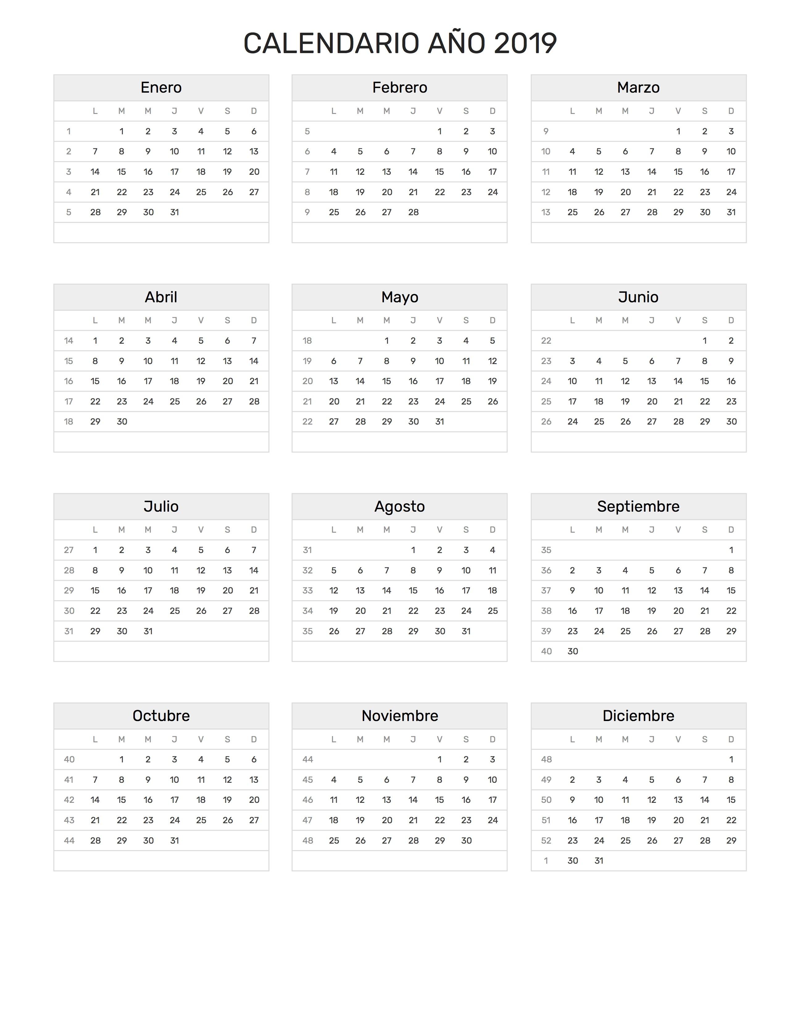Calendario Junio 2019 Para Imprimir Pdf.Calendario 2019 Mas De 150 Plantillas Para Imprimir Y Descargar Gratis
