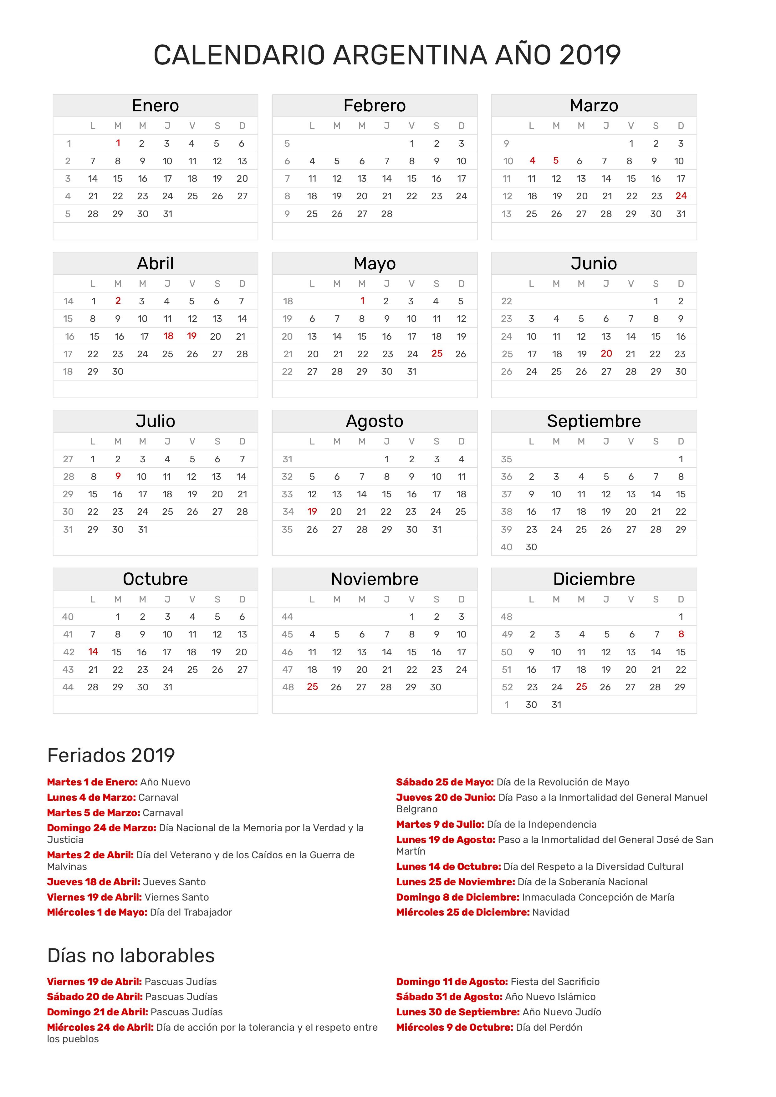 Calendario Marzo 2020 Argentina Para Imprimir.Calendario De Argentina Ano 2019 Feriados