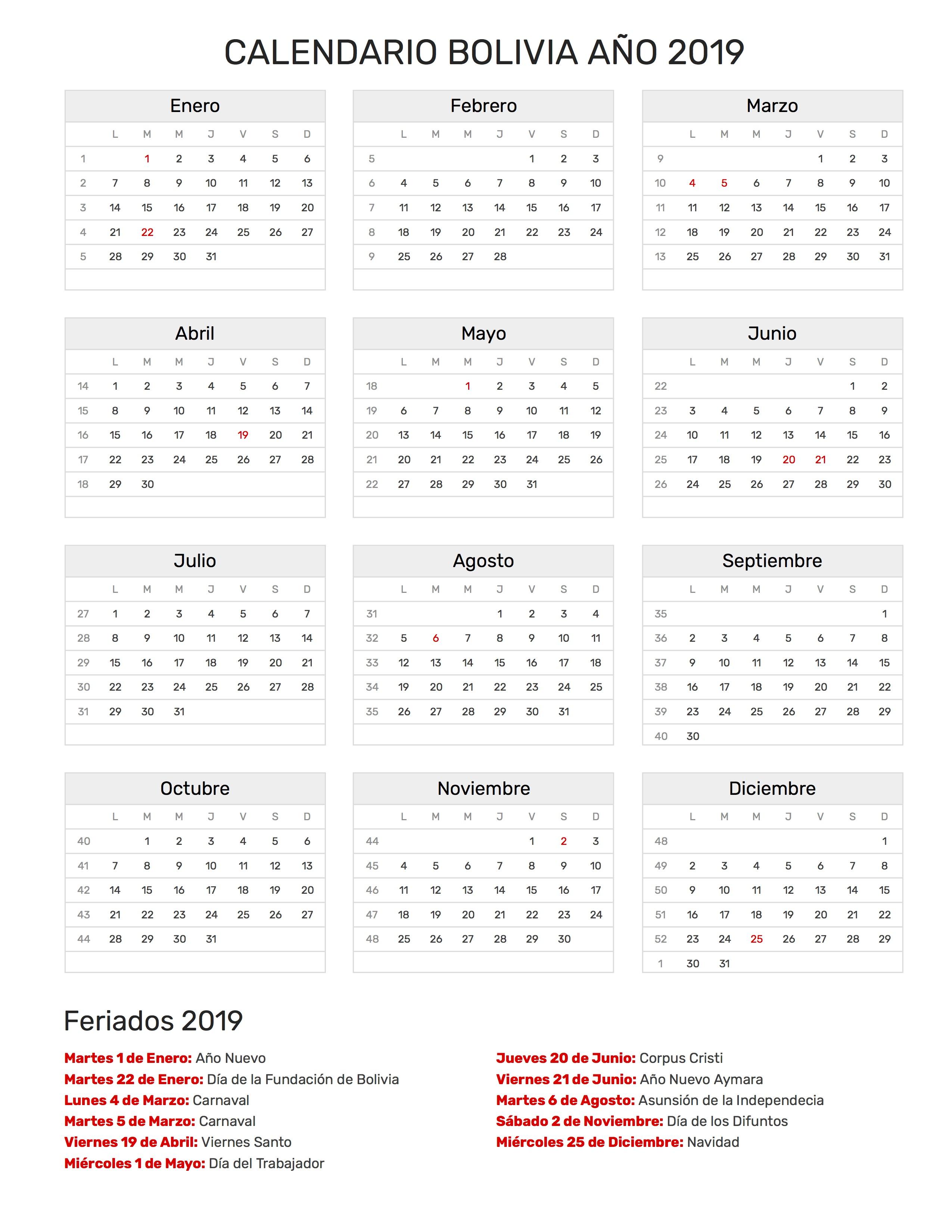 Calendario 2019 Bolivia