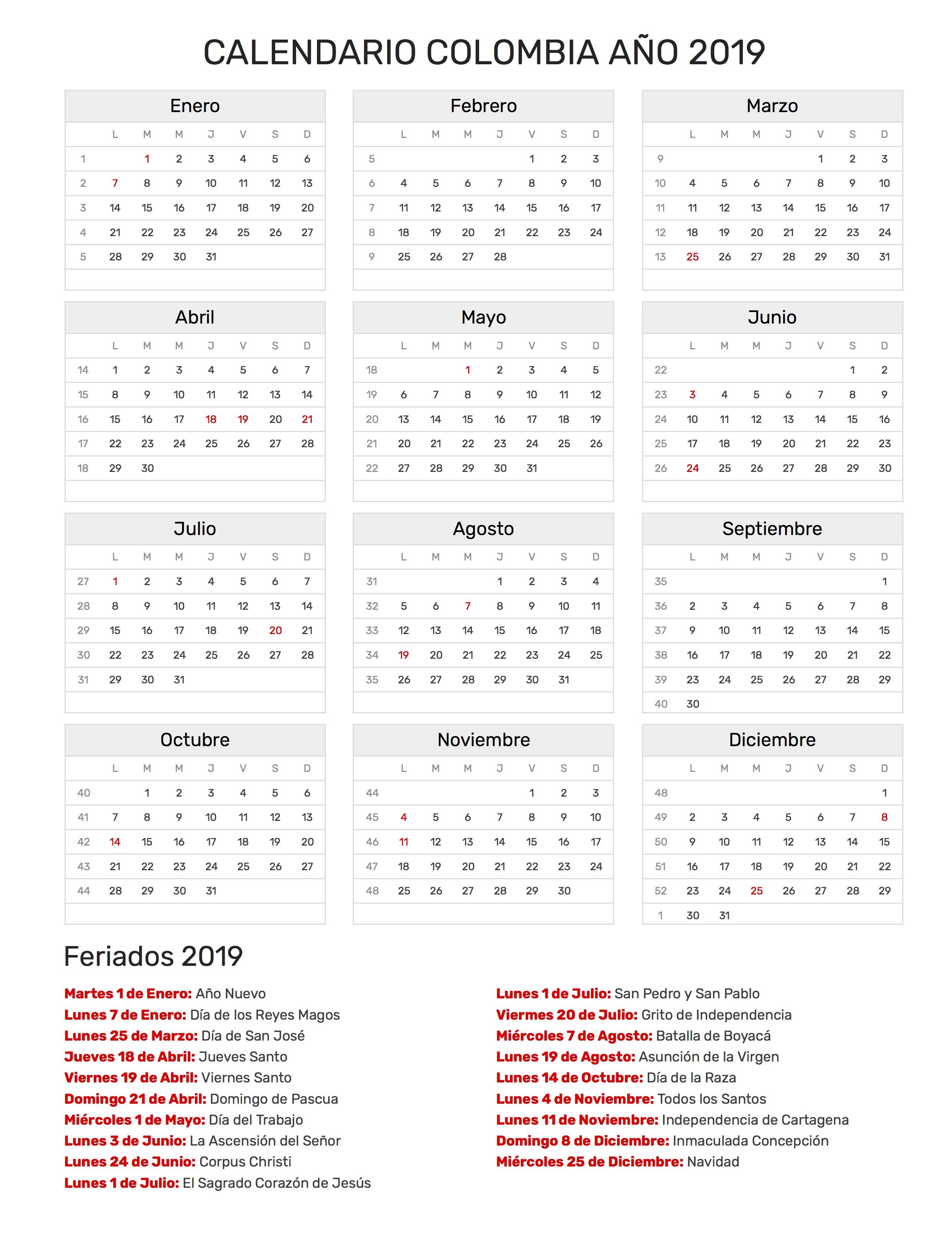 Calendario Colombia 2019 Para Imprimir.Calendario De Colombia Ano 2019 Feriados