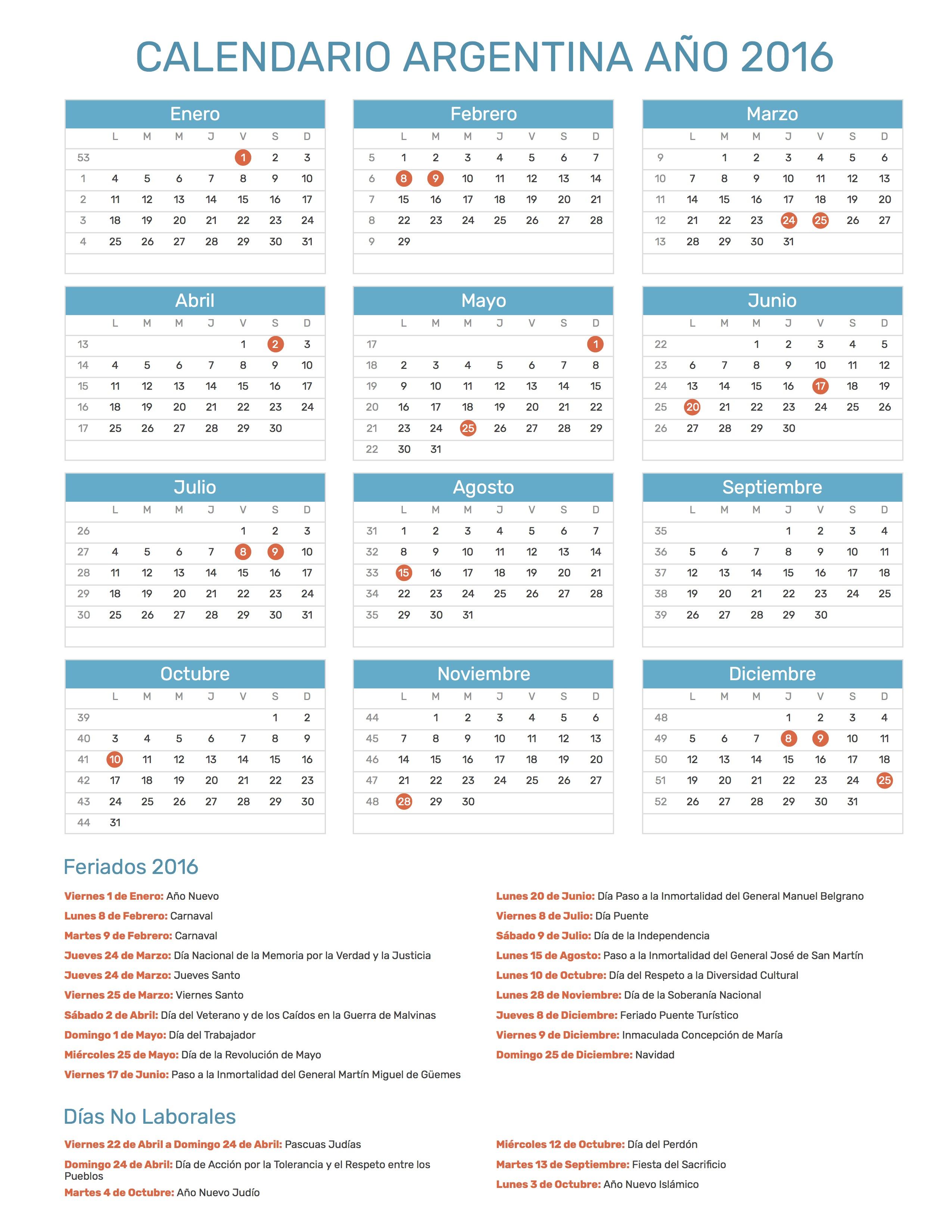 Calendario 2016 Argentina.Index Of Print Calendario Normal 2016