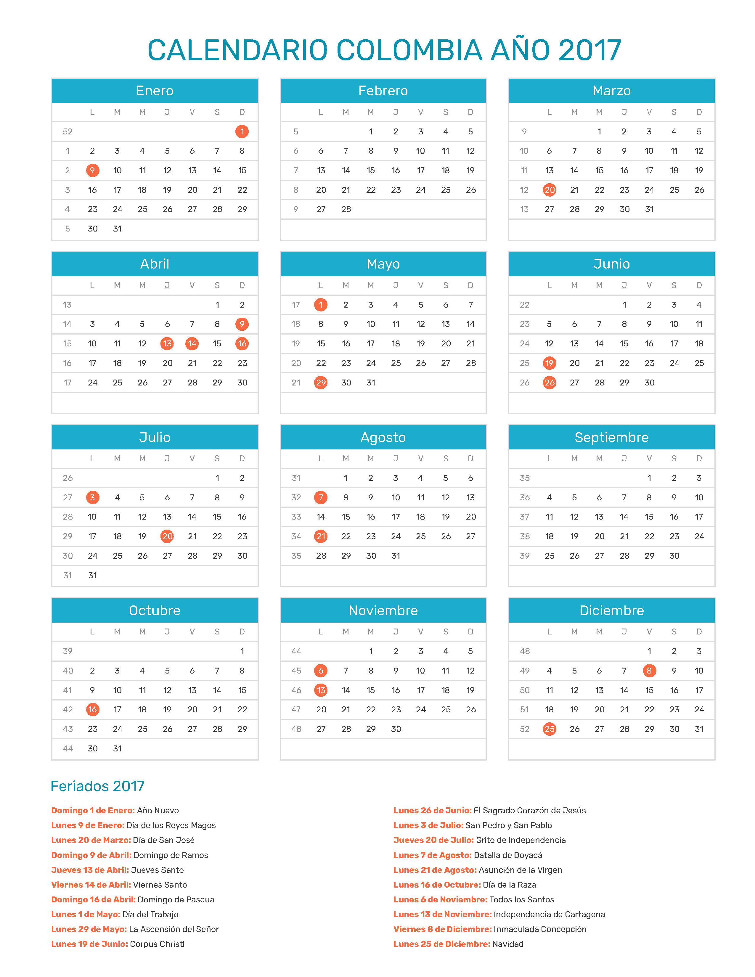 Calendario 2017 Colombia.Index Of Print Calendario Normal 2017