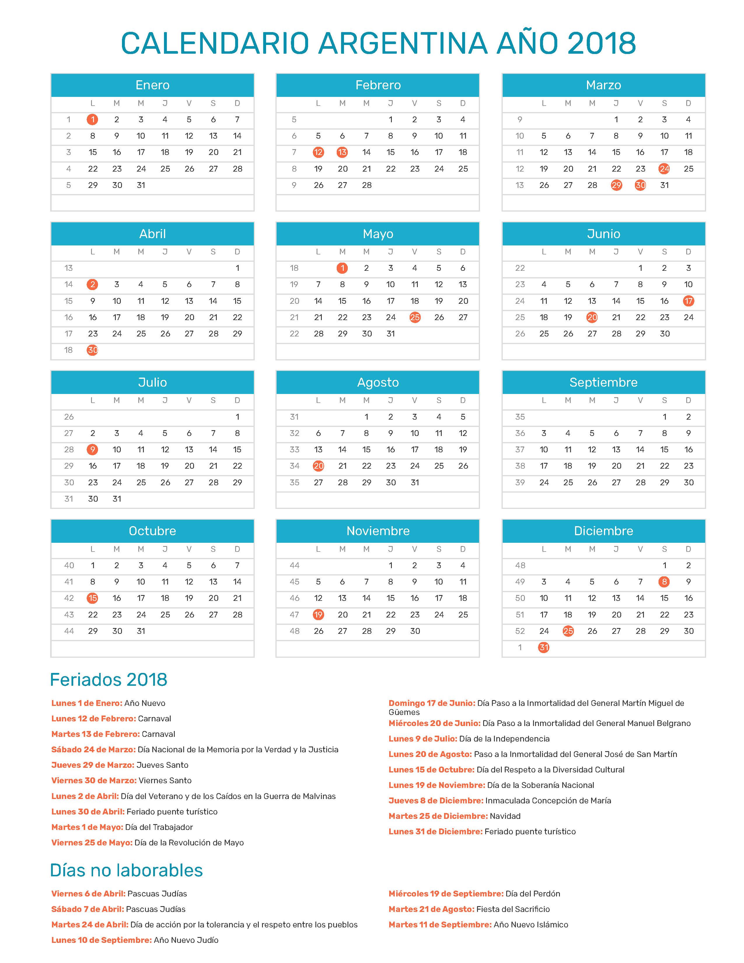 Calendario Diciembre 2018 Argentina.Calendario De Argentina Ano 2018 Feriados