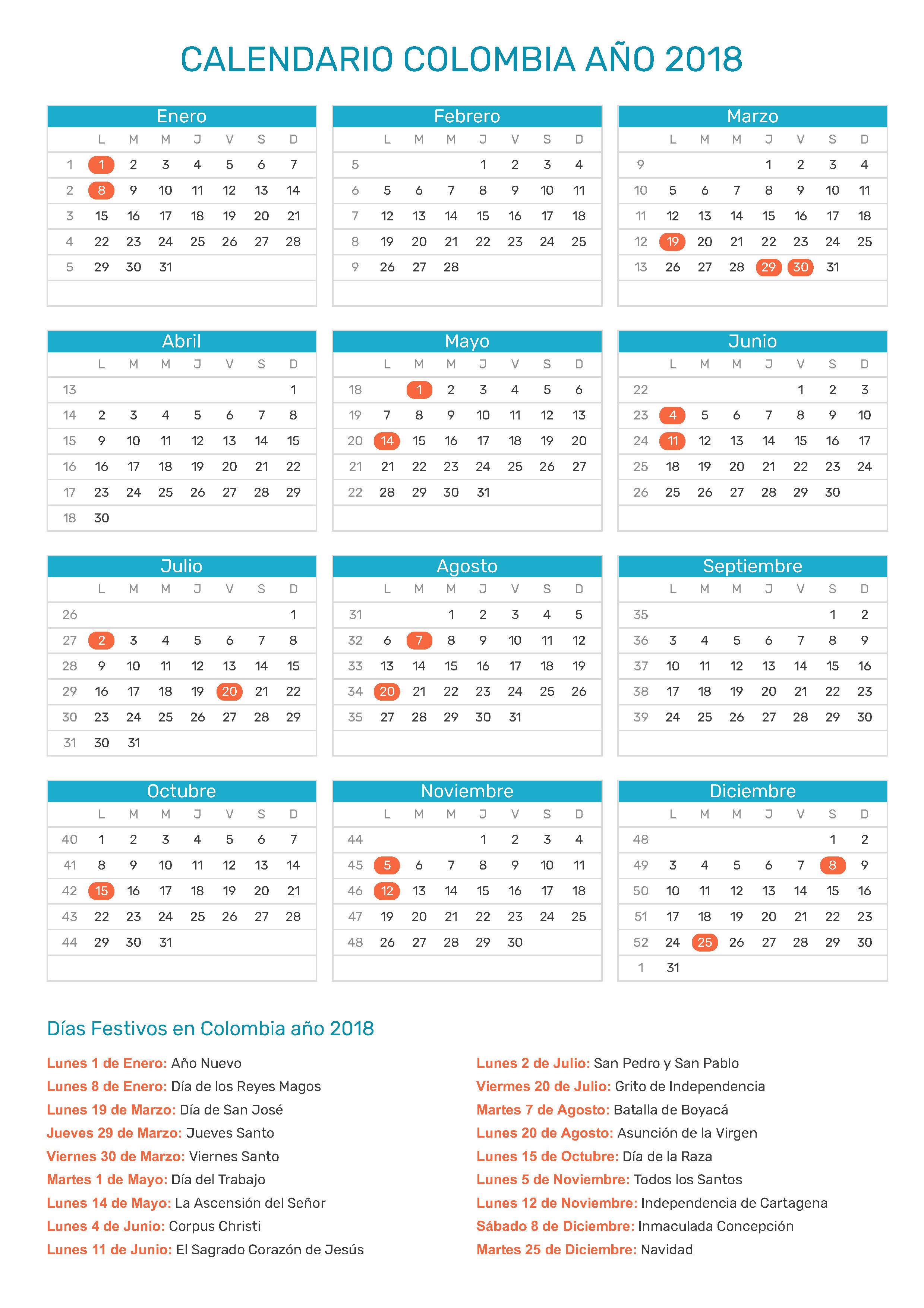 Resultado de imagen para calendario de días festivos en colombia 2018