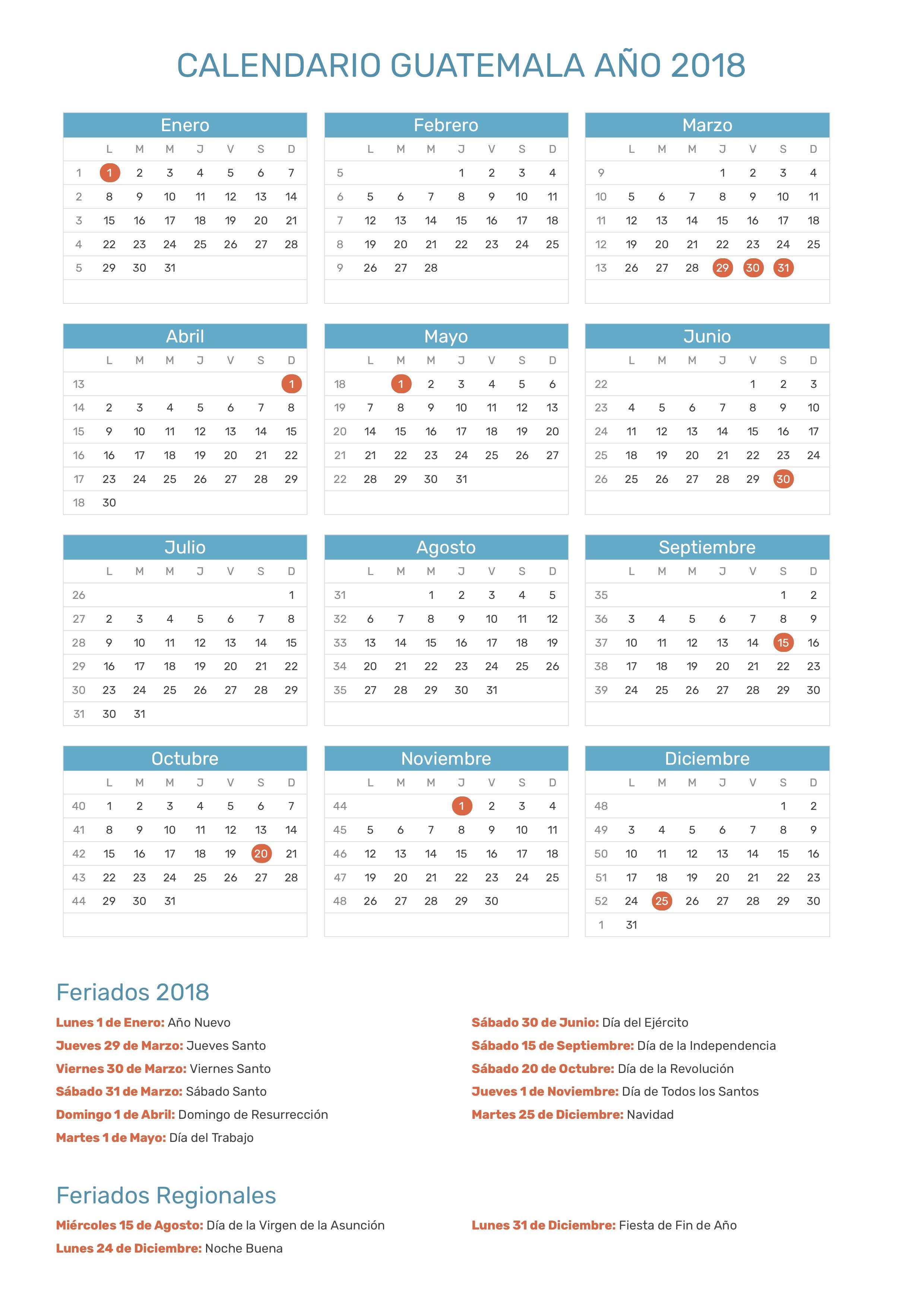 calendario de guatemala a u00f1o 2018
