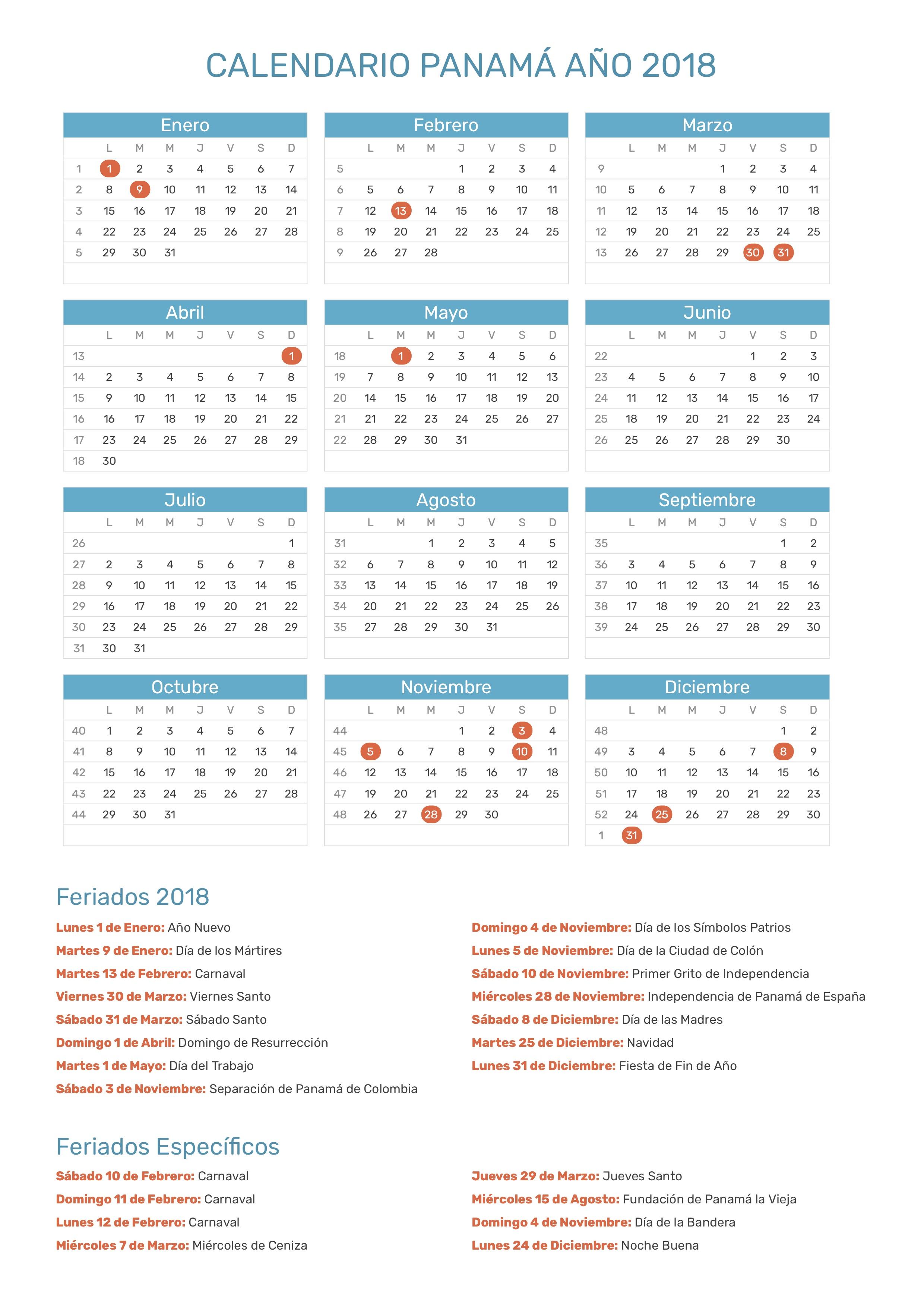 Calendario Panama 2019 Con Festivos.Calendario De Panama Ano 2018 Feriados