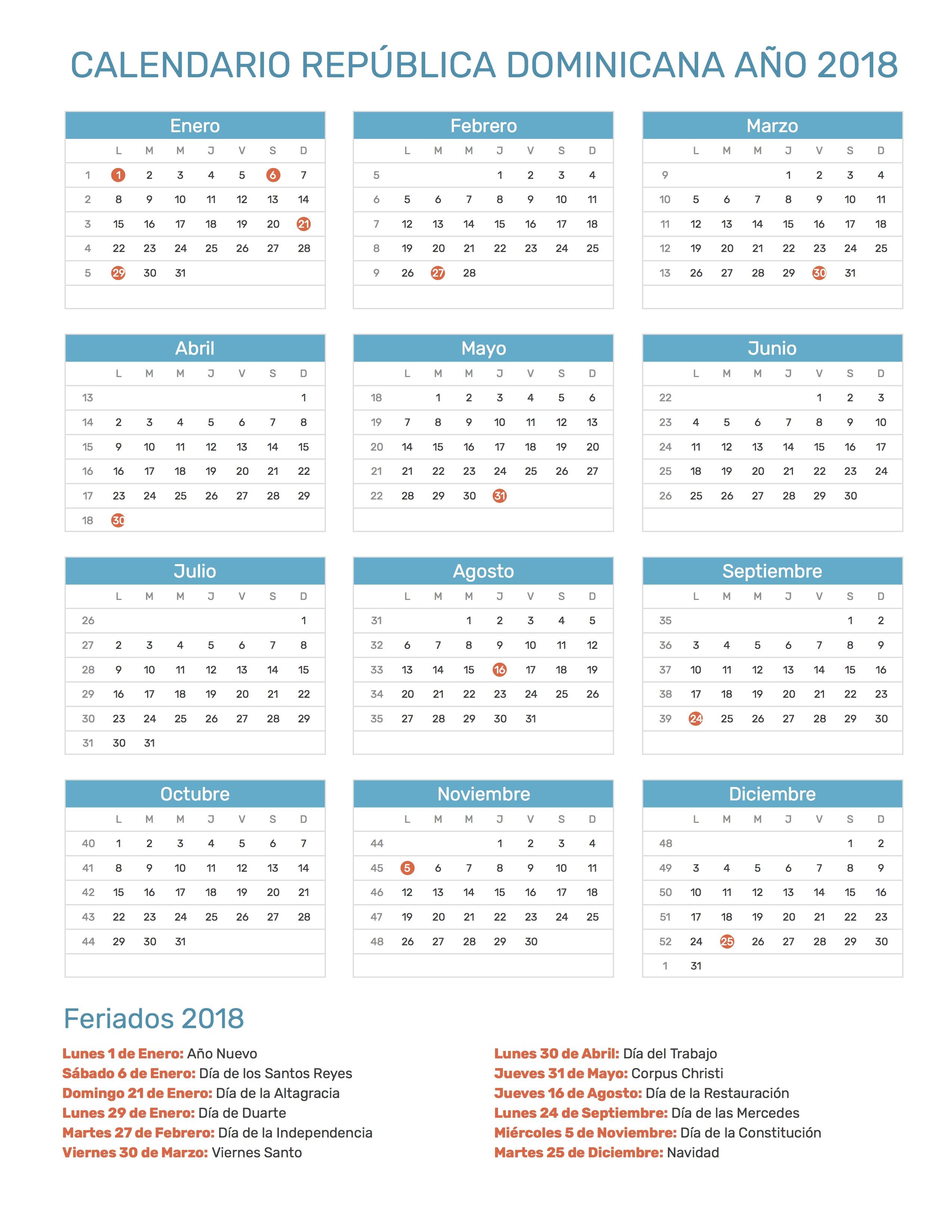Calendario 2019 Y Sus Feriados