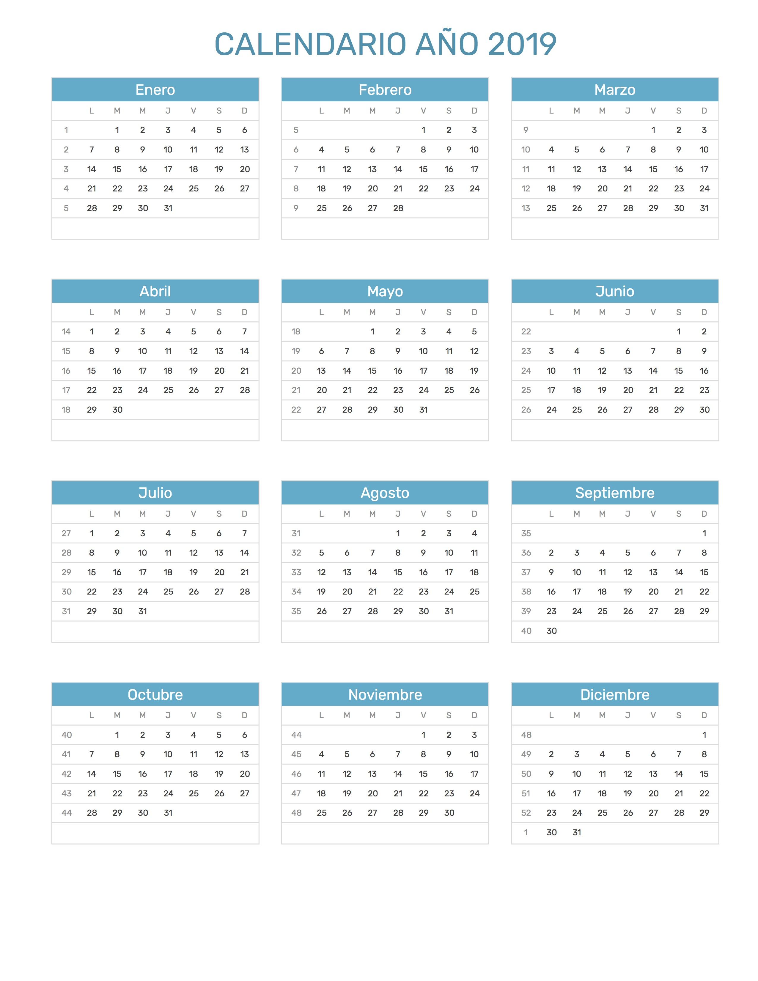 Calendario a o 2019 for Calendario 2015 ministerio del interior
