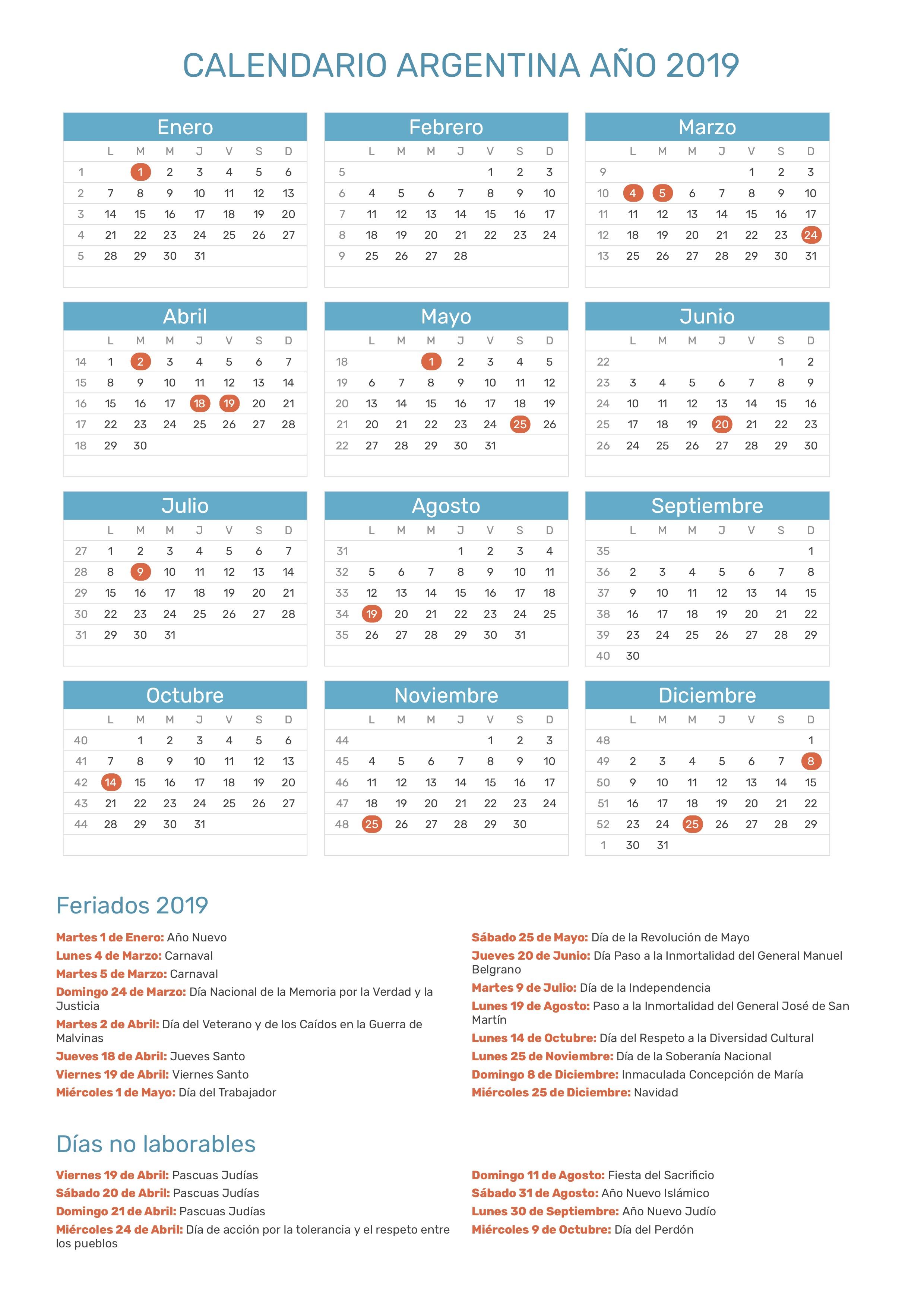 Calendario Agosto 2020 Argentina.Calendario De Argentina Ano 2019 Feriados