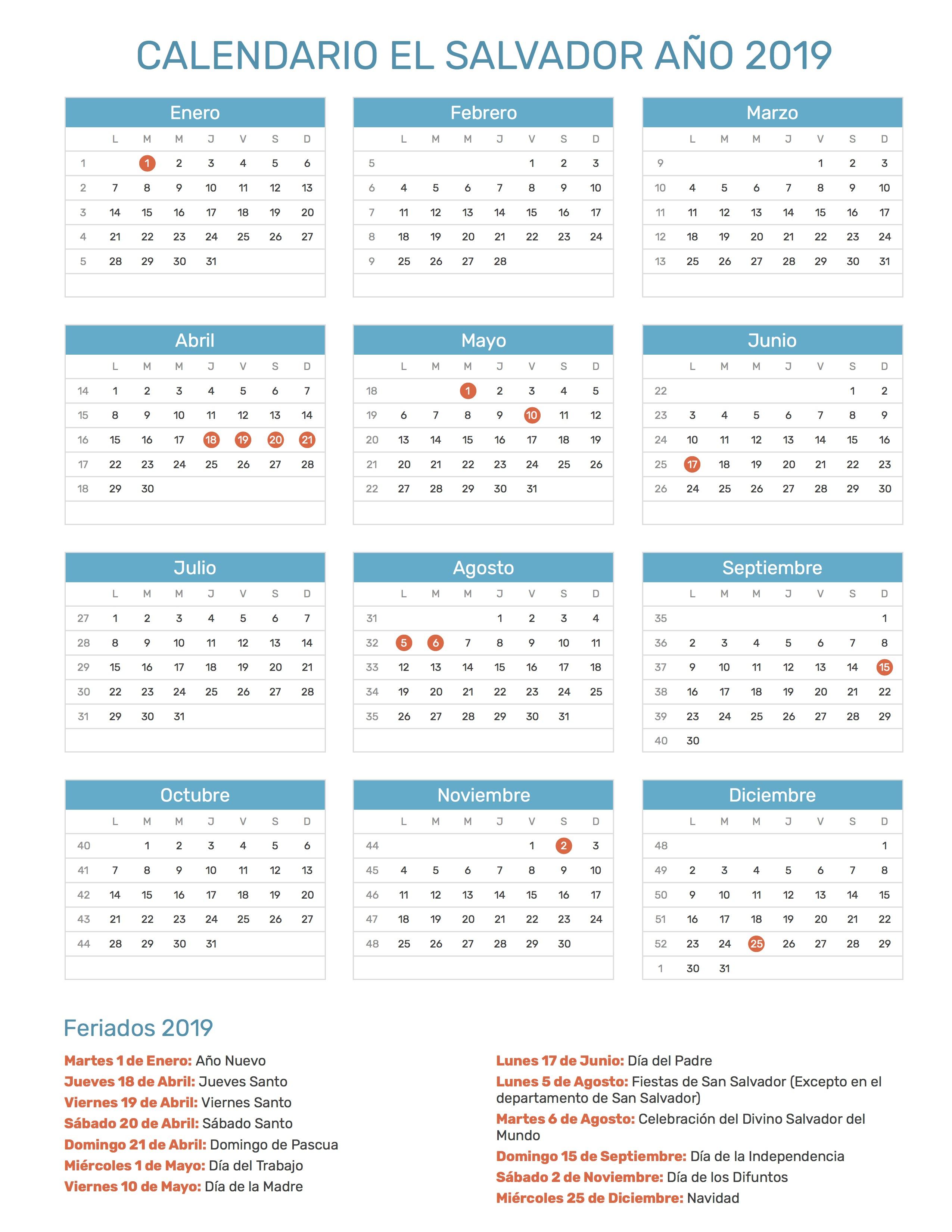 Calendario Agosto 2019 Con Feriados.Calendario De El Salvador Ano 2019 Feriados