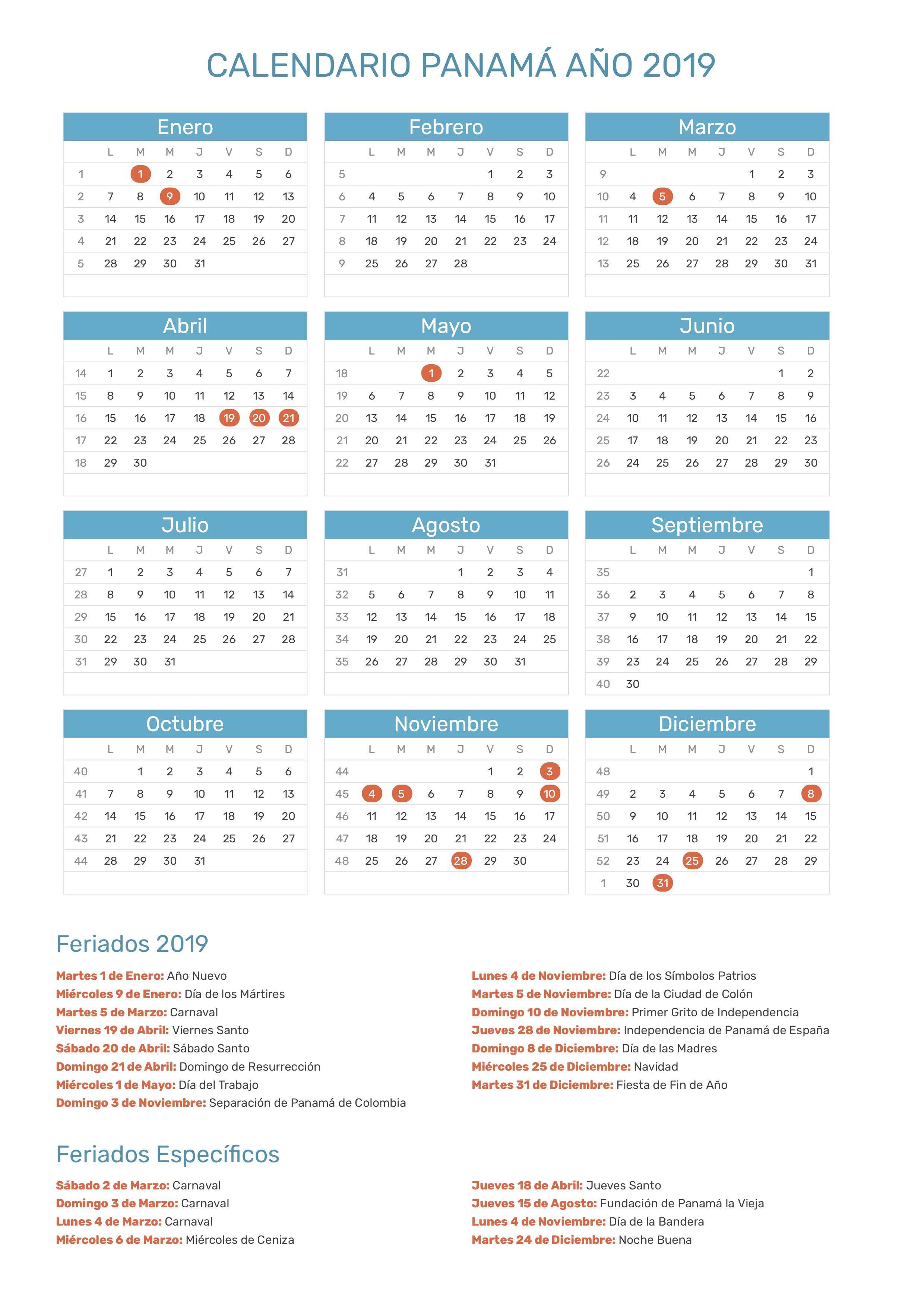 Calendario Panama 2019 Con Festivos.Calendario De Panama Ano 2019 Feriados