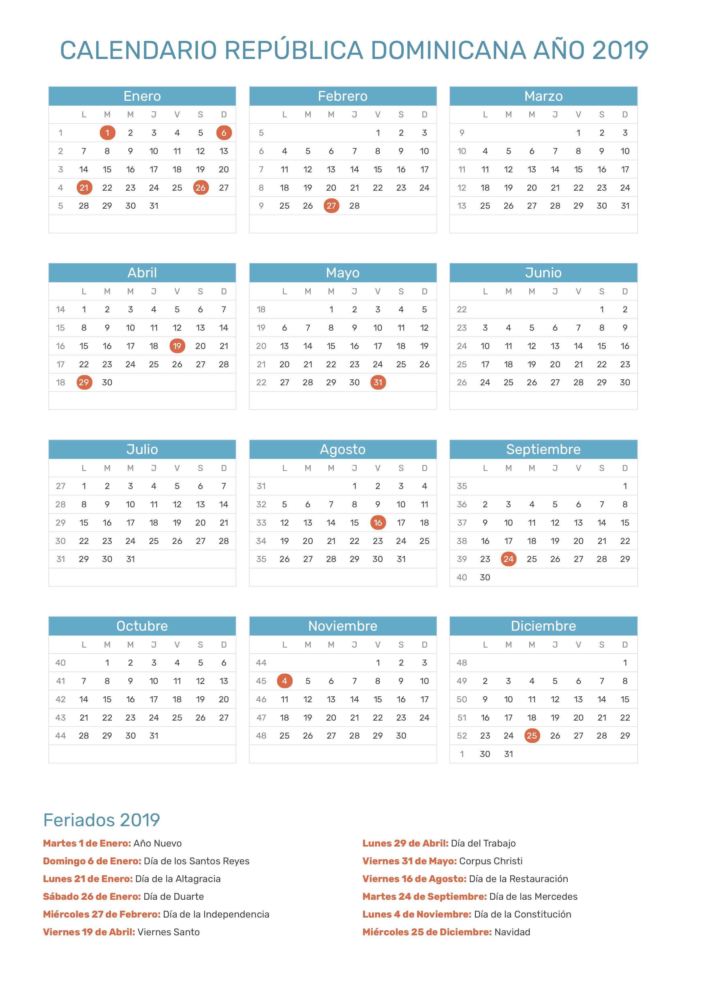 Calendario Fiscal 2019 Honduras.Calendario De Republica Dominicana Ano 2019 Feriados
