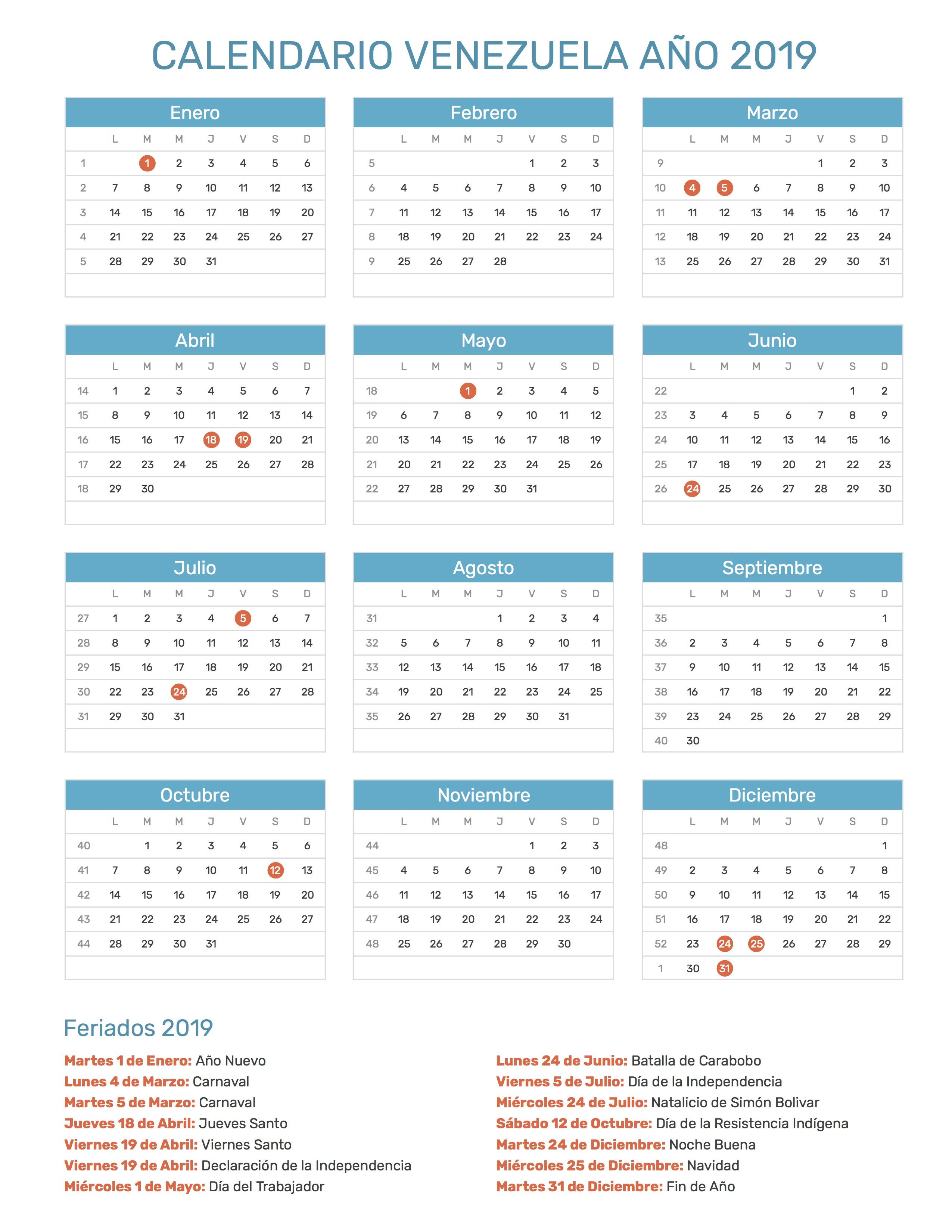 Calendario 2018 Venezuela Con Feriados Y Bancarios
