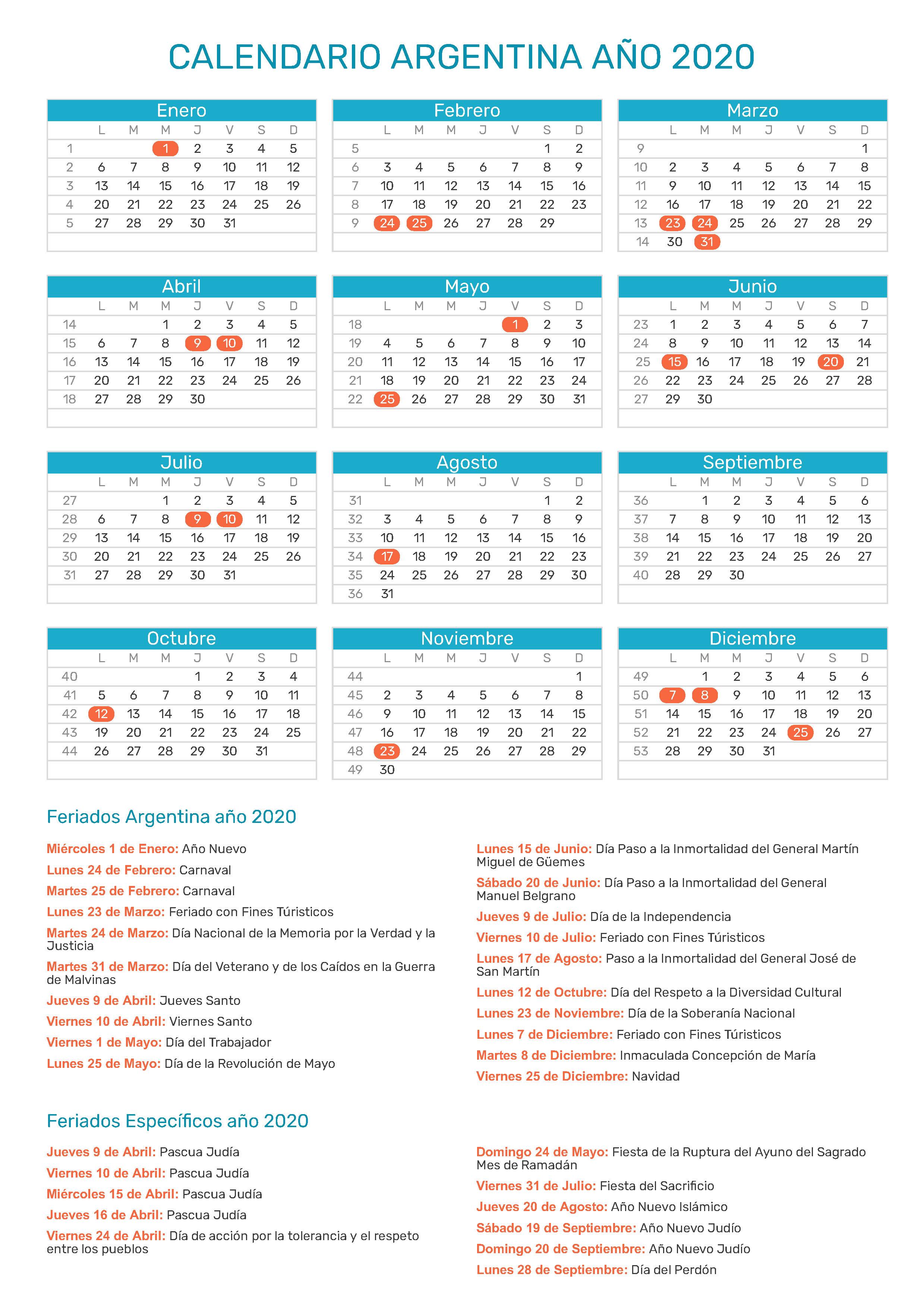 Calendario Agosto 2020 Argentina.Calendario De Argentina Ano 2020 Feriados