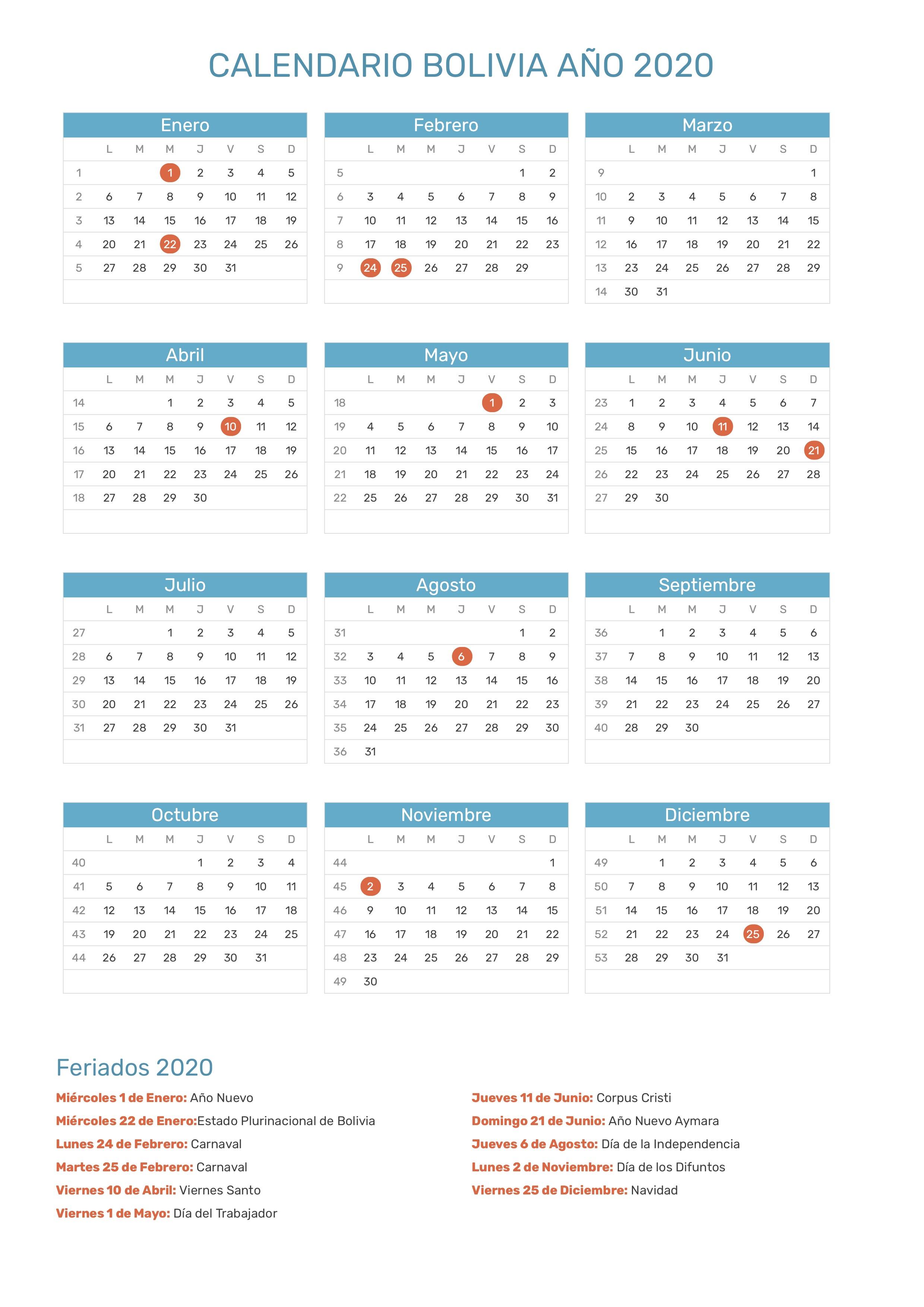 Calendario Del Ano 2020 En Espanol.Calendario De Bolivia Ano 2020 Feriados