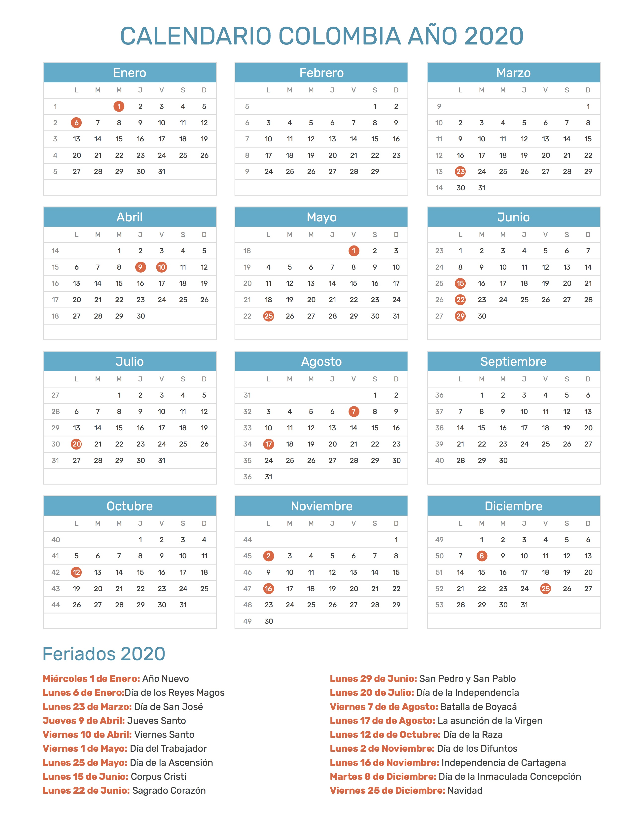 Calendario 2020 Argentina Para Imprimir Pdf.Calendario De Colombia Ano 2020 Feriados