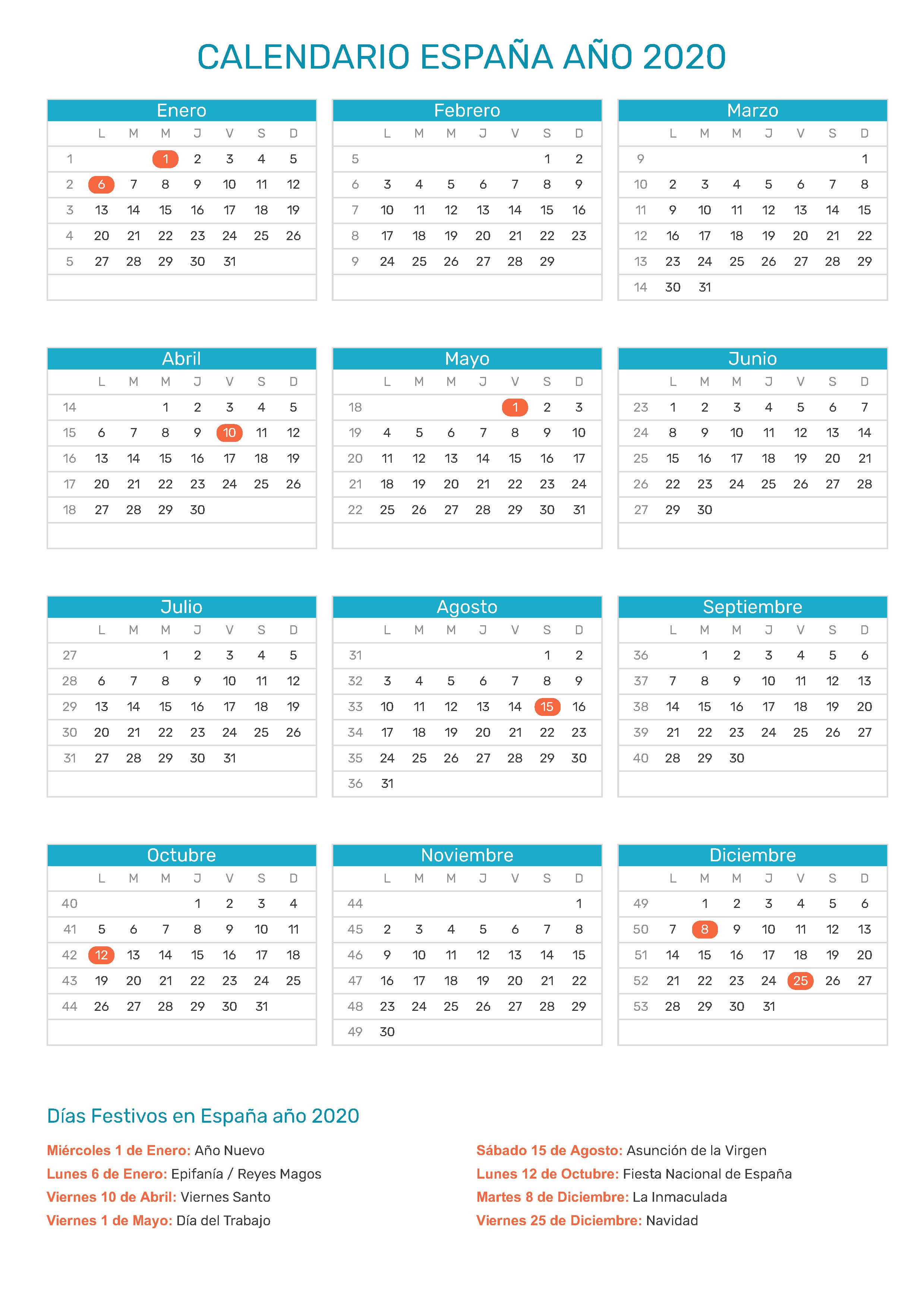 Calendario 2020 Espana Con Festivos.Calendario De Espana Ano 2020 Feriados