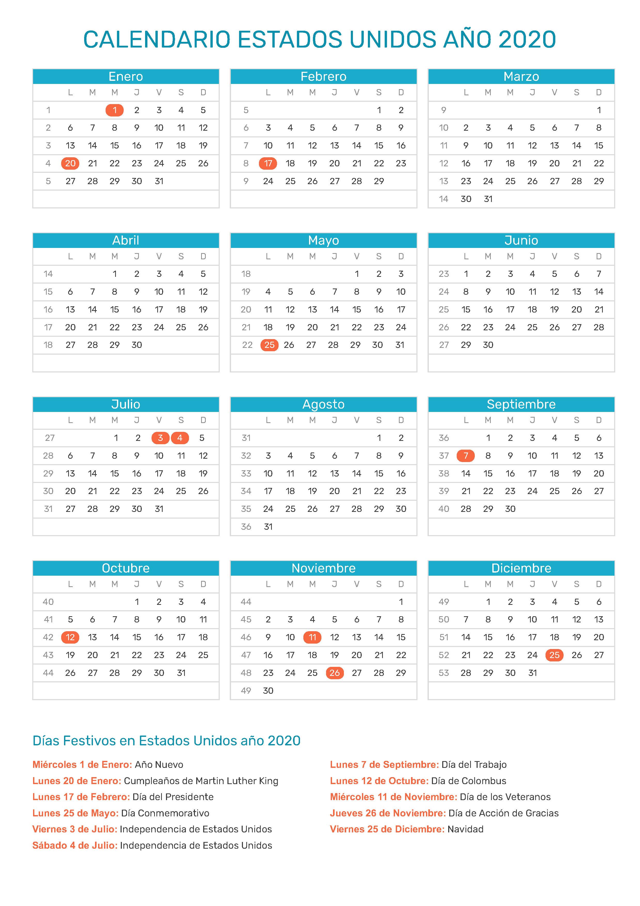 calendario escolar 2020 usa