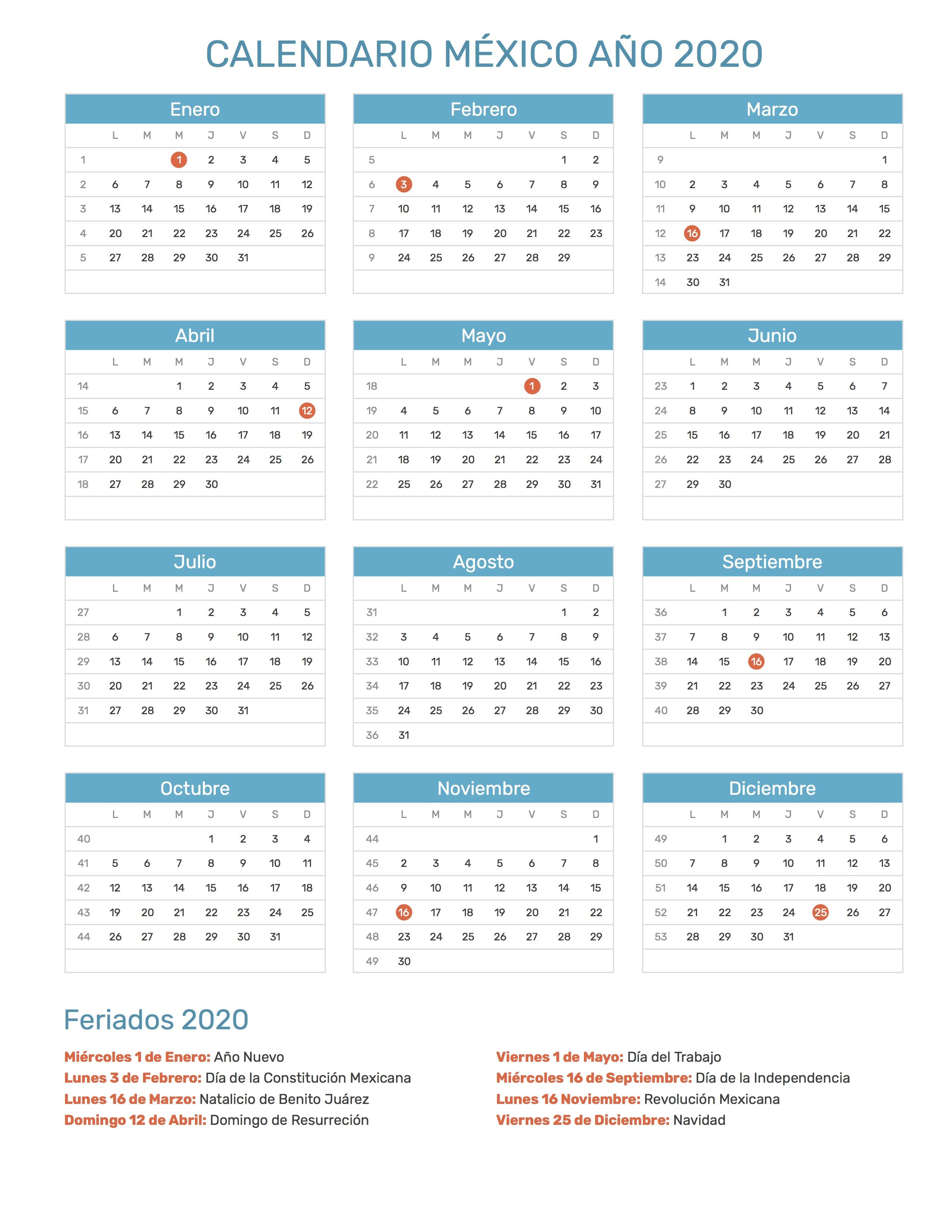 Calendario Diciembre 2020 Para Imprimir.Calendario De Mexico Ano 2020 Feriados