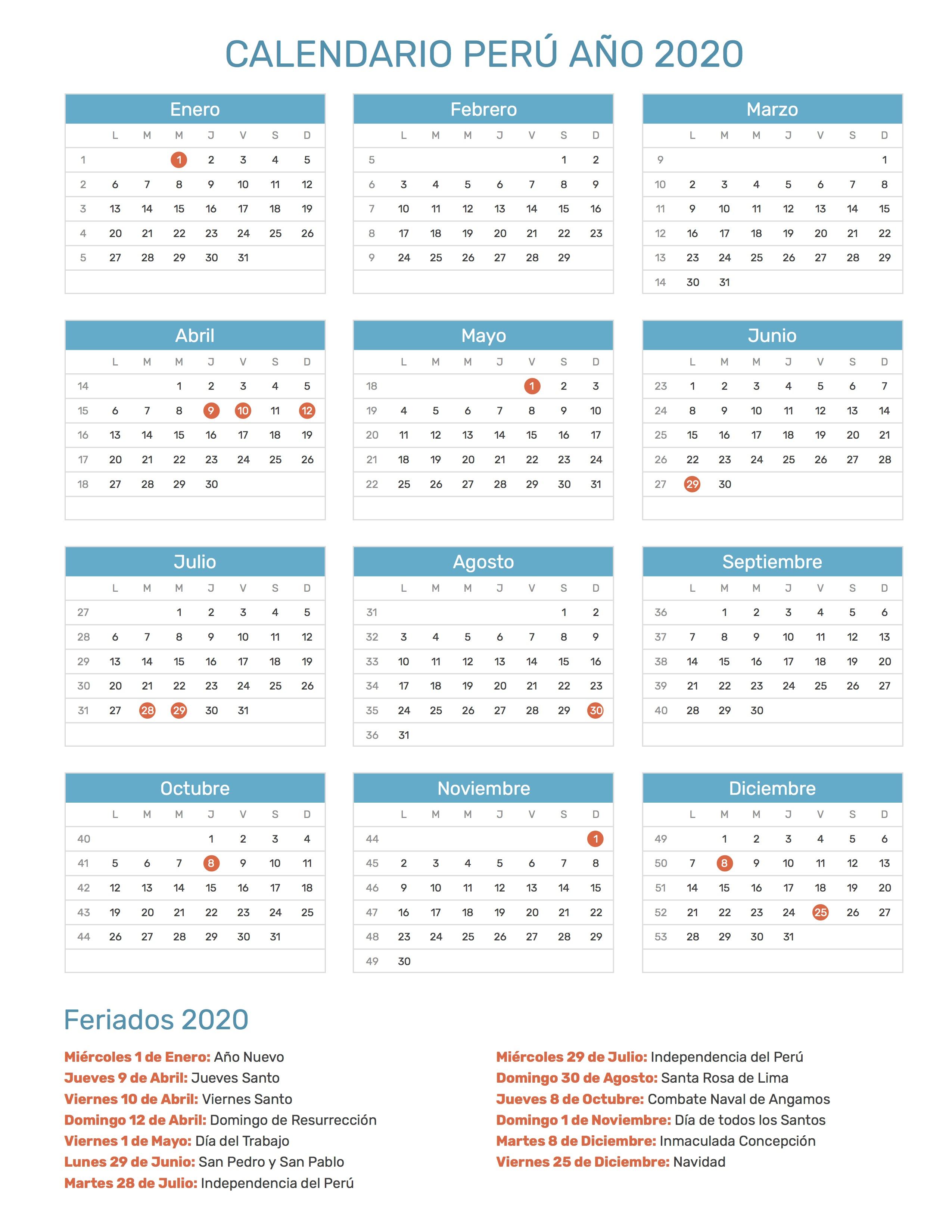Calendario Marzo 2020 Peru.Calendario De Peru Ano 2020 Feriados