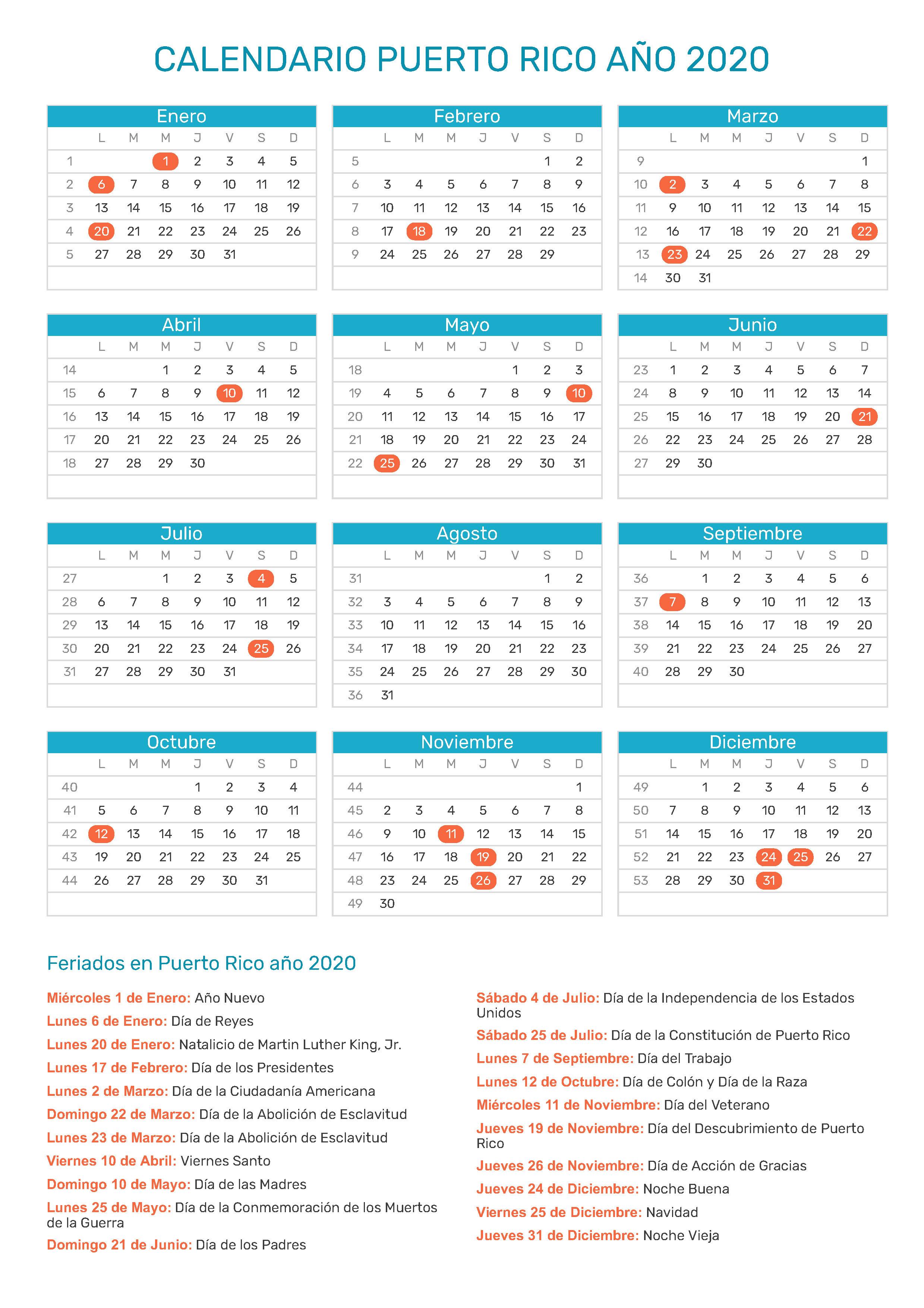 Calendario De Puerto Rico Ano 2020 Feriados