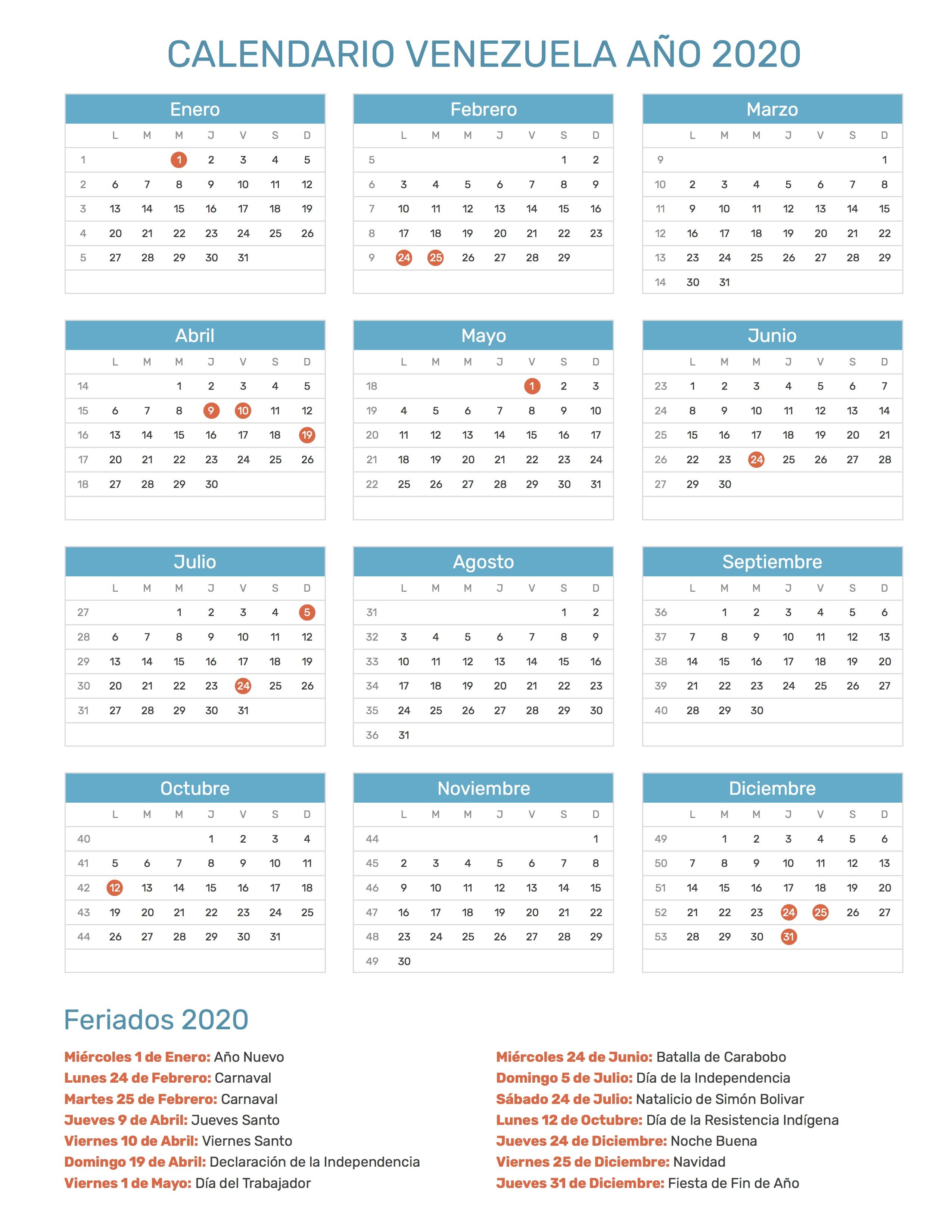 Calendario 2020 Portugues Com Feriados.Calendario De Venezuela Ano 2020 Feriados